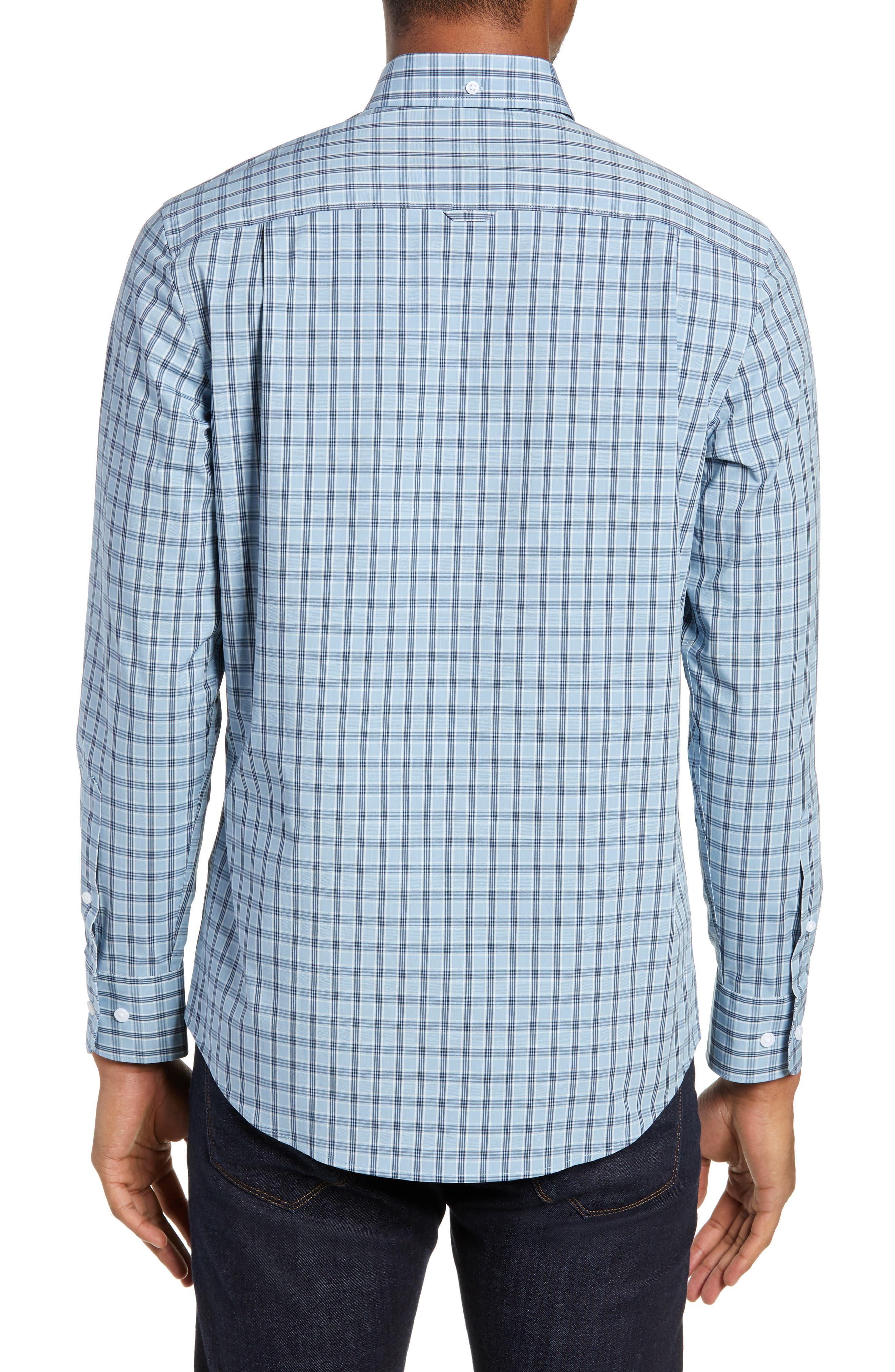Tech-Smart Slim Fit Plaid Sport Shirt,                             Alternate thumbnail 3, color,                             BLUE HEAVEN HEATHER CHECK