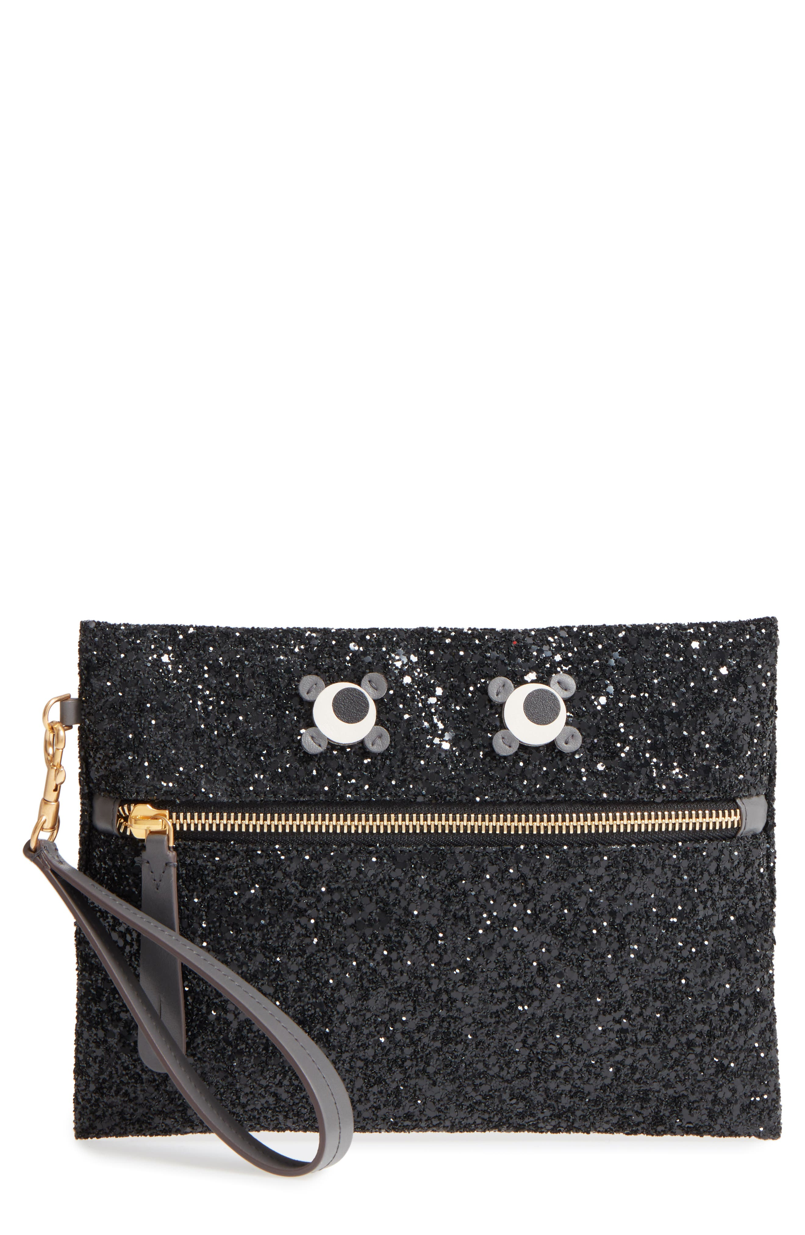 Eyes Circulus Glitter Pouch,                             Main thumbnail 1, color,                             001