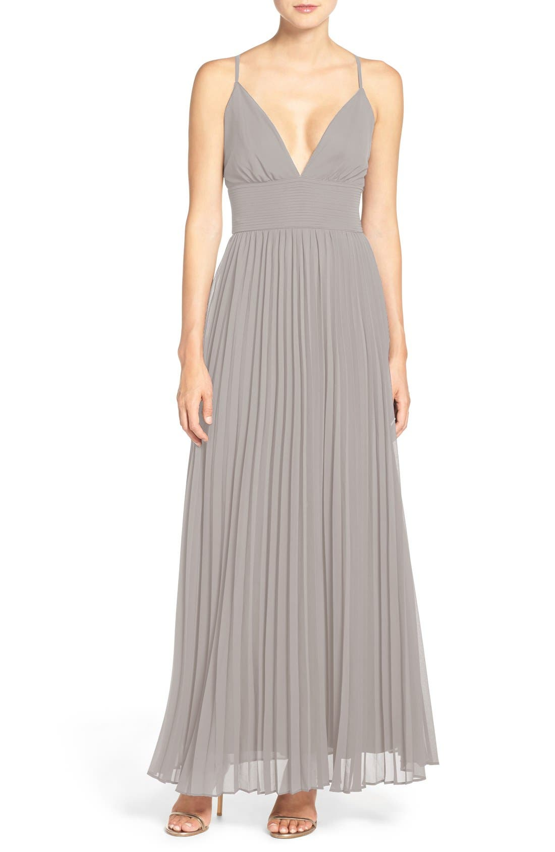 Plunging V-Neck Pleat Georgette Gown,                             Main thumbnail 2, color,