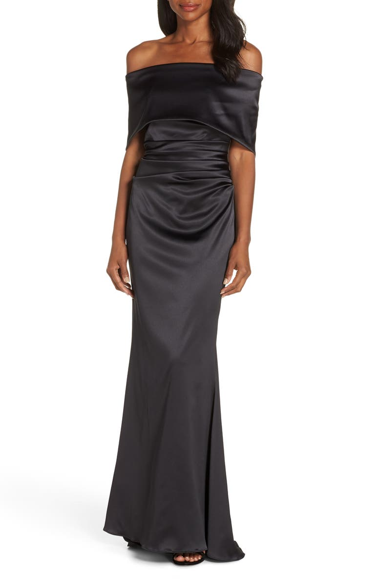 Off the Shoulder Gown,                         Main,                         color, BLACK