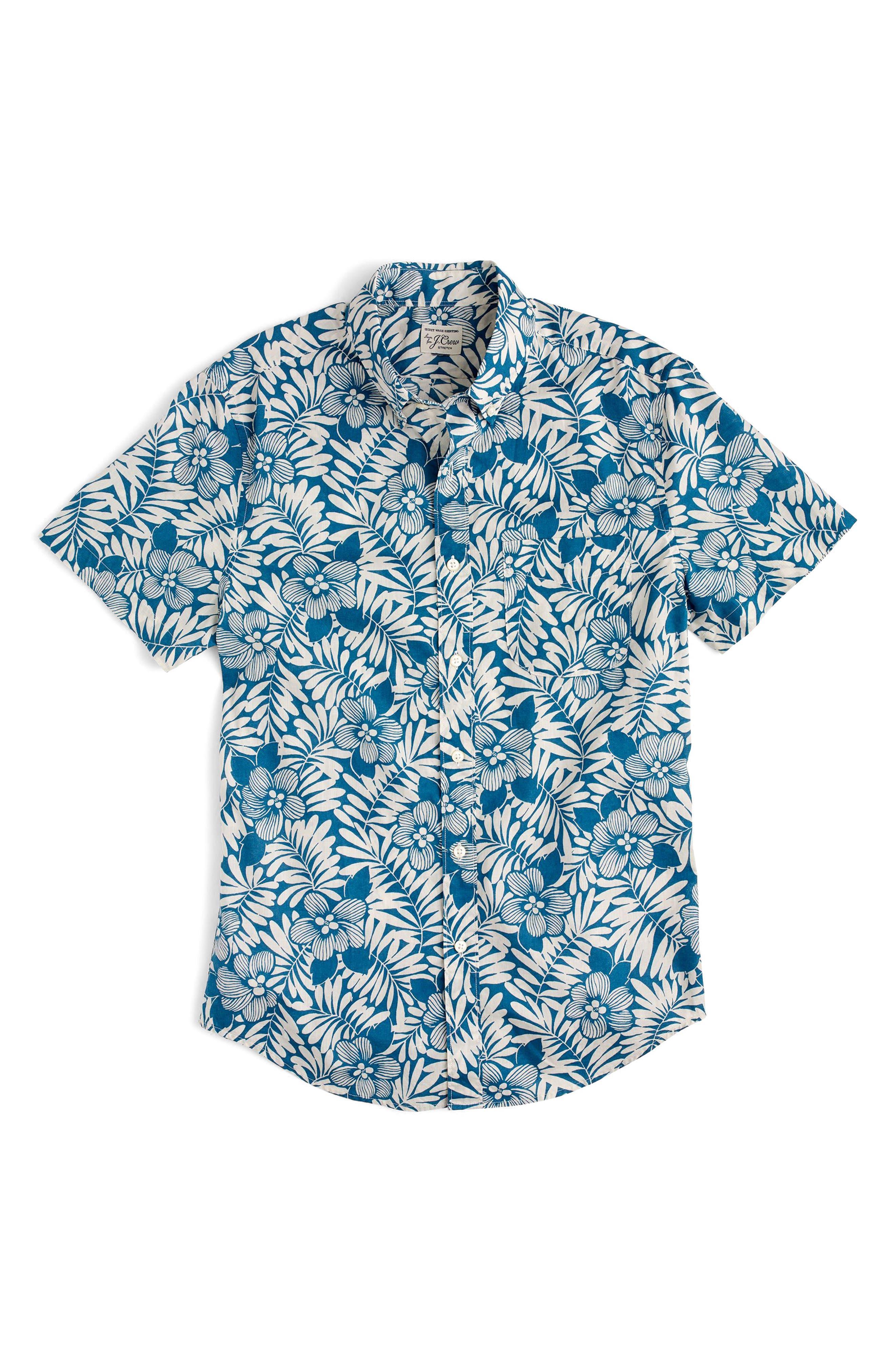 Secret Wash Short Sleeve Fern Print Sport Shirt,                             Alternate thumbnail 3, color,                             400