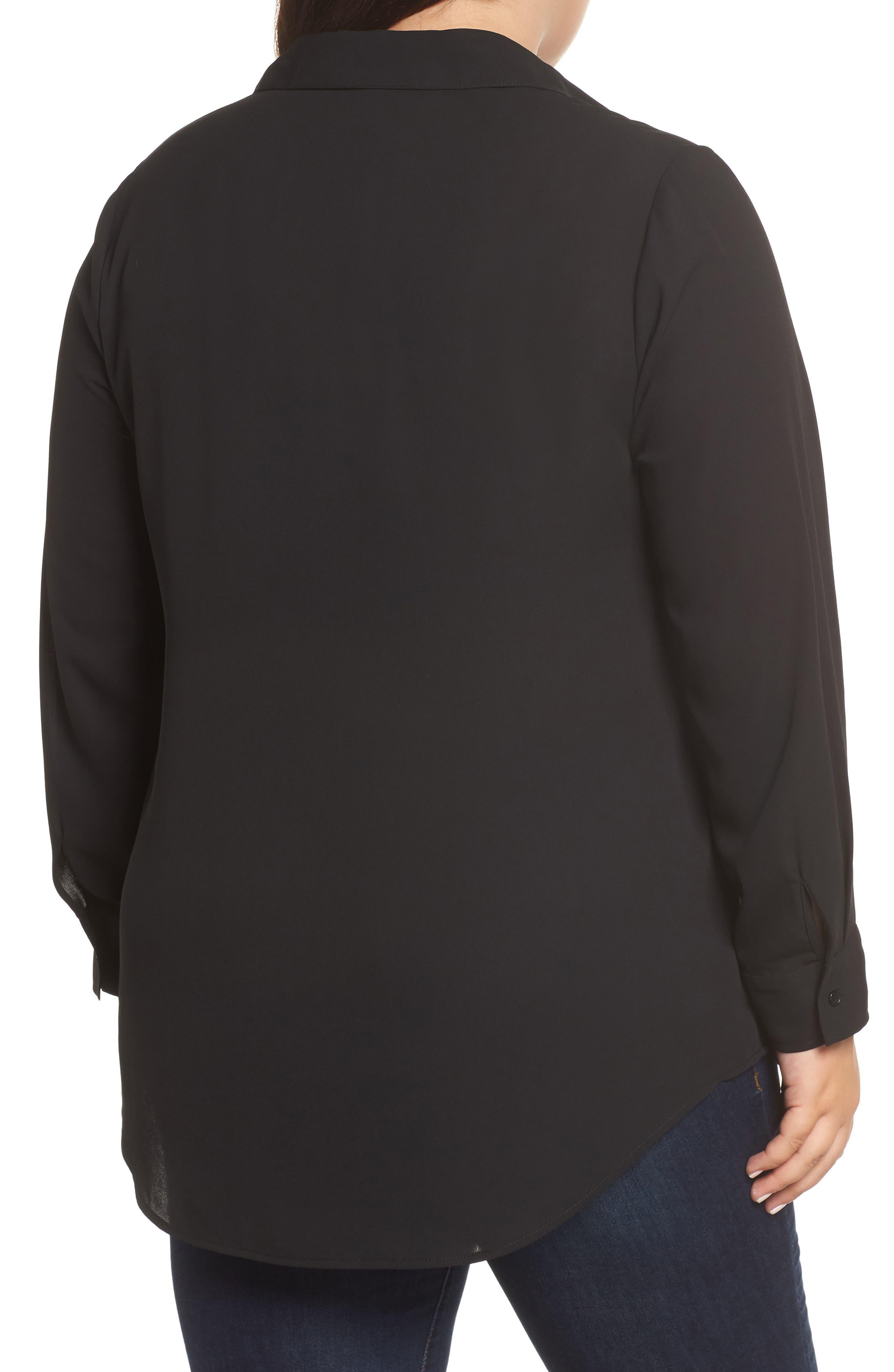 Shirt Collar Blouse,                             Alternate thumbnail 2, color,                             BLACK