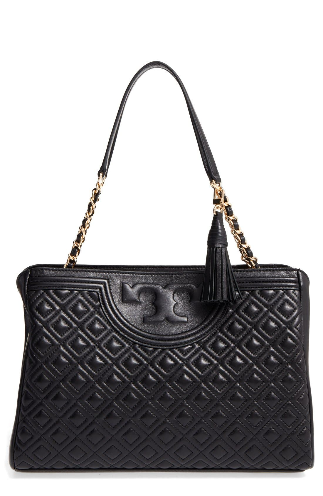 TORY BURCH Fleming Leather Shoulder Bag, Main, color, 001