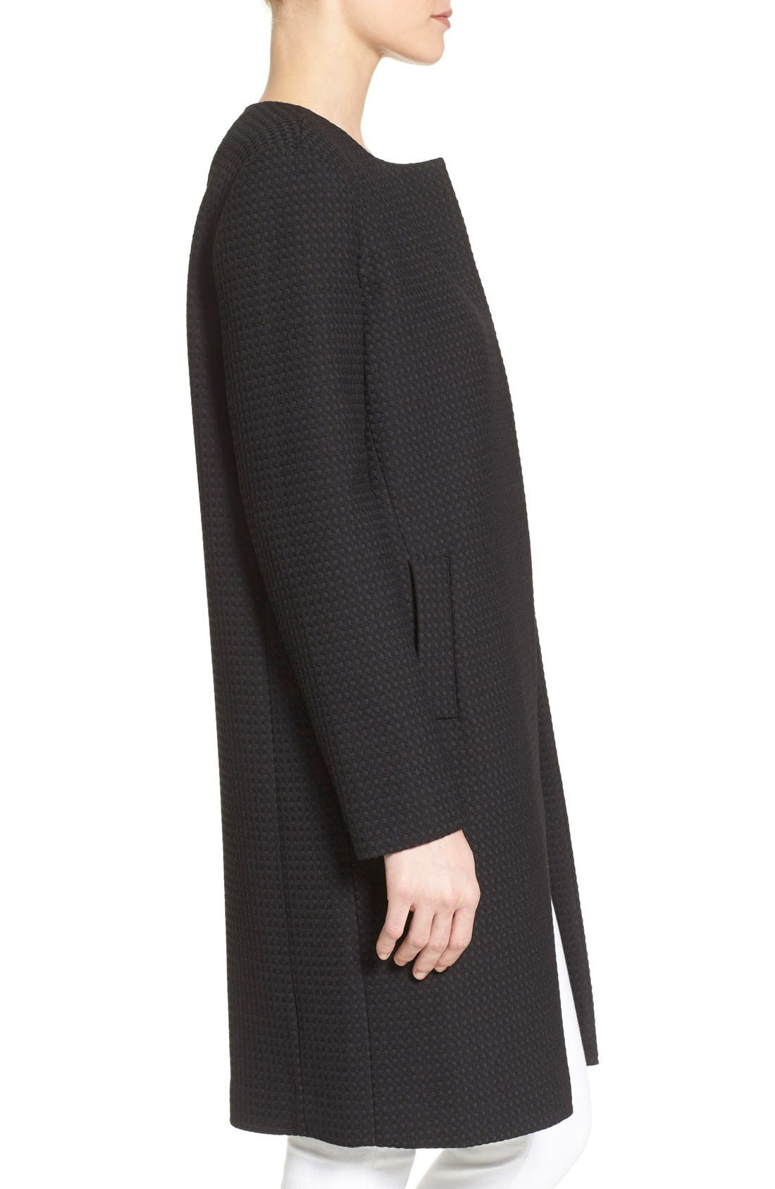 Textured Collarless Topper,                             Alternate thumbnail 3, color,                             001