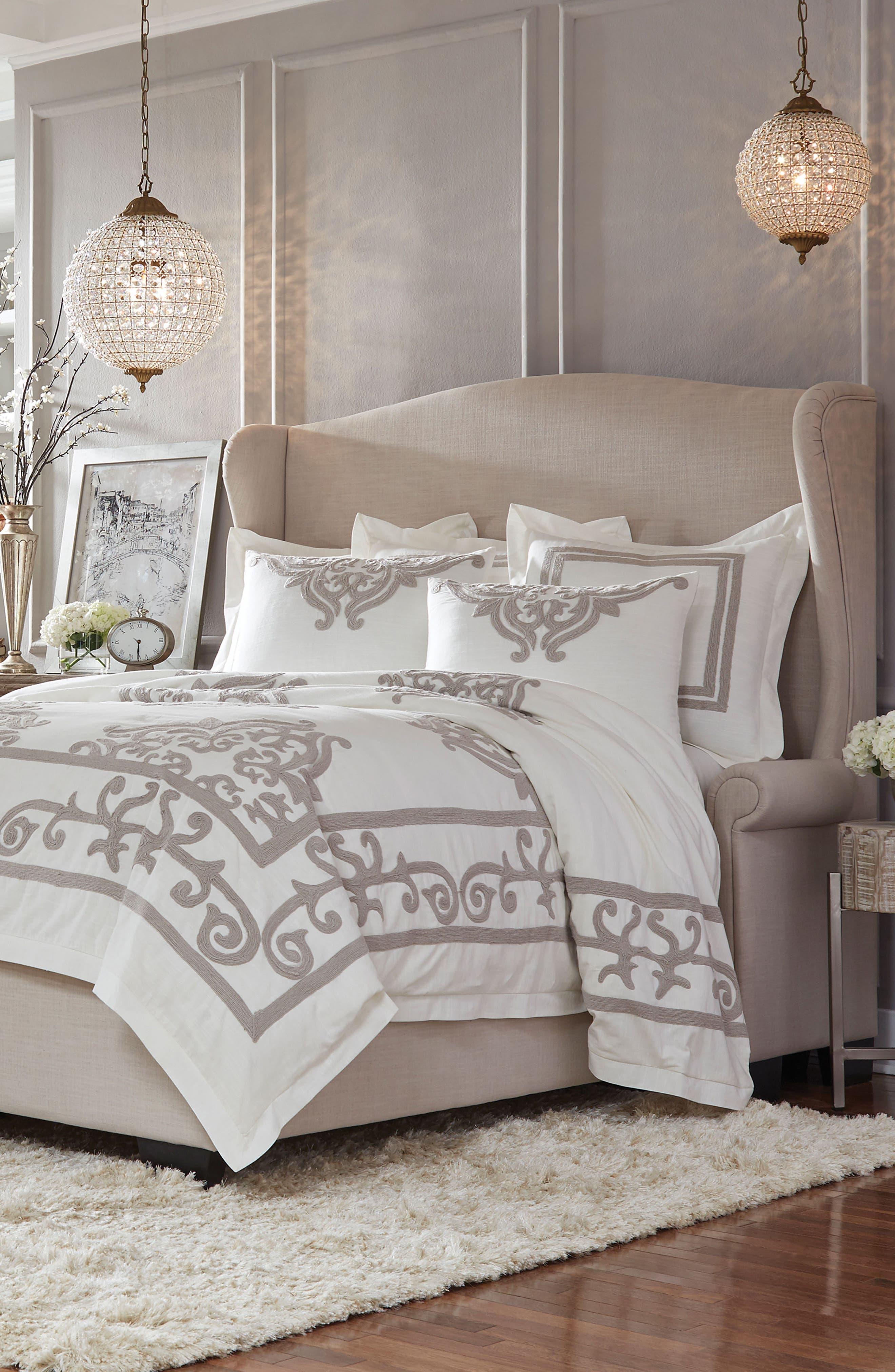 Patrina Embroidered Duvet Cover, IVORY/ TAUPE, christine kohut interiors, designninja, bedding, winter white out, sale, nordstrom