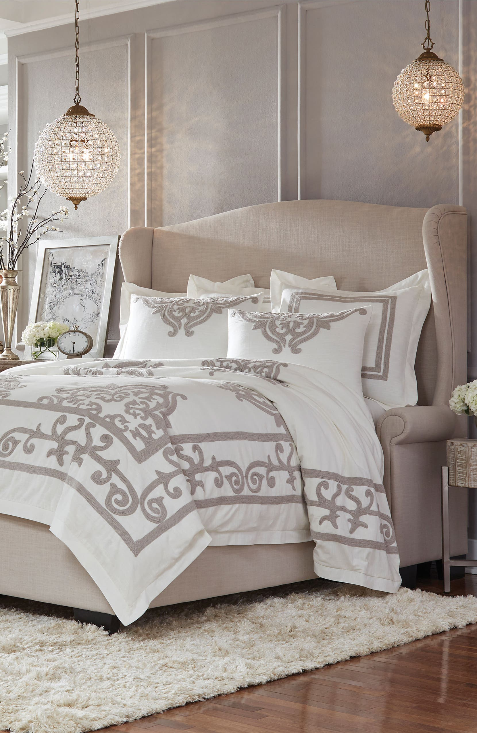 Patrina Embroidered Duvet Cover, IVORY/ TAUPE, christine kohut interiors, designninja, bedding, winter white out, sale, nordstrom