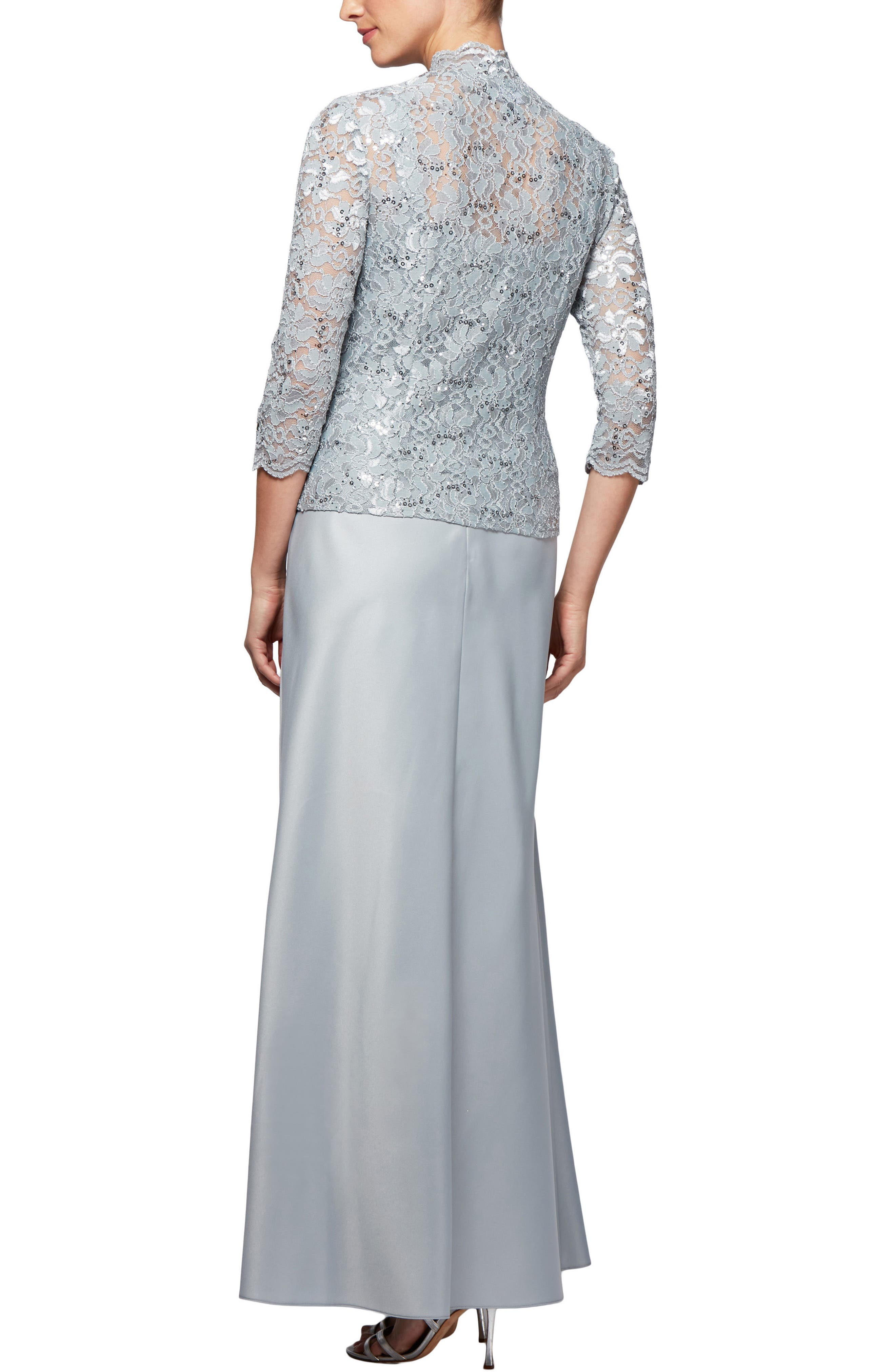Scalloped Lace Gown with Jacket,                             Alternate thumbnail 2, color,                             043