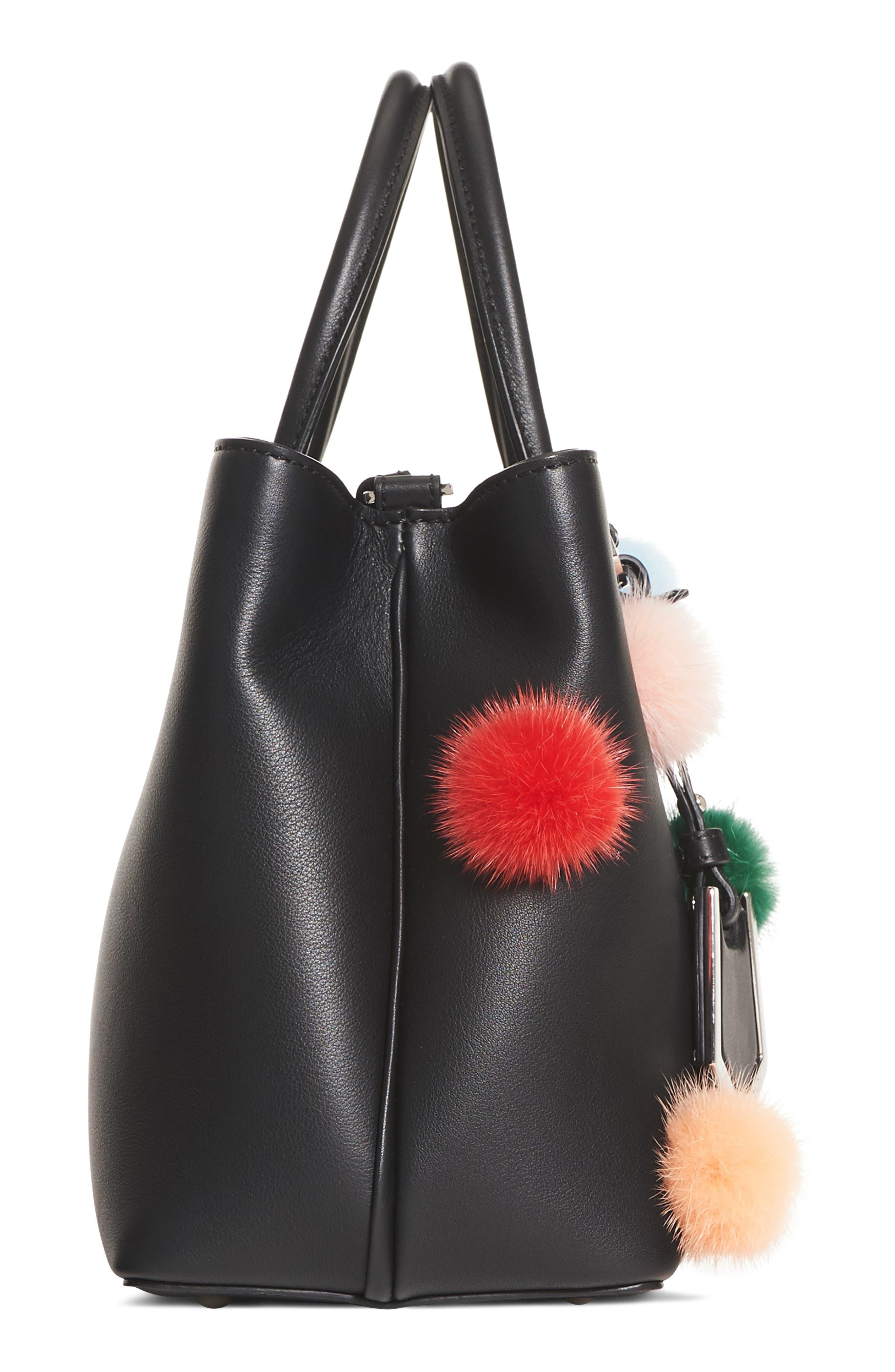 Petite2Jours Genuine Mink Fur & Leather Shopper,                             Alternate thumbnail 4, color,                             BLACK MULTI