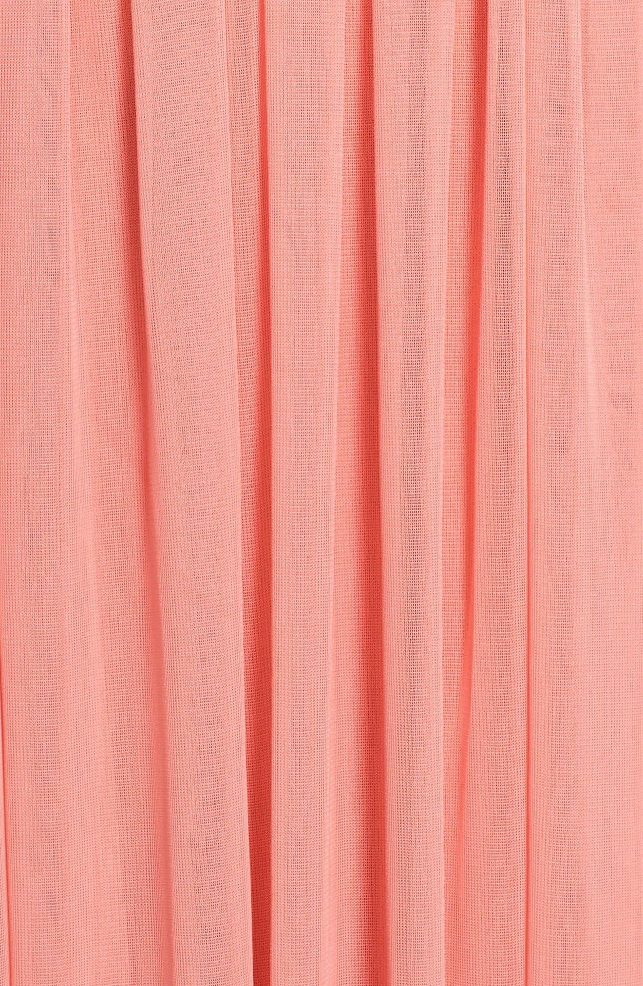 Shirred Chiffon V-Neck Gown,                             Alternate thumbnail 5, color,                             633