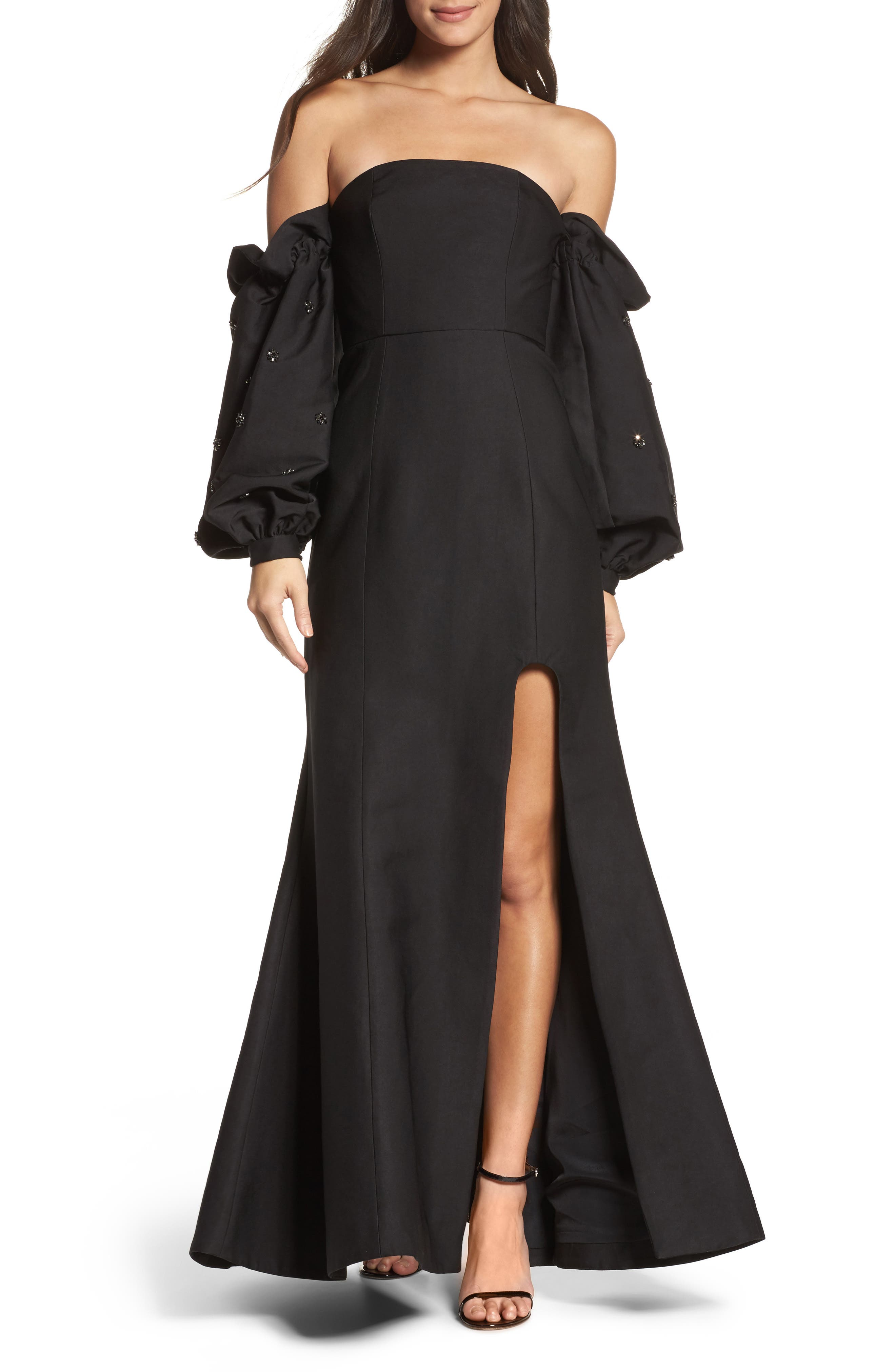 Assemble Embellished Off the Shoulder Gown,                             Main thumbnail 1, color,