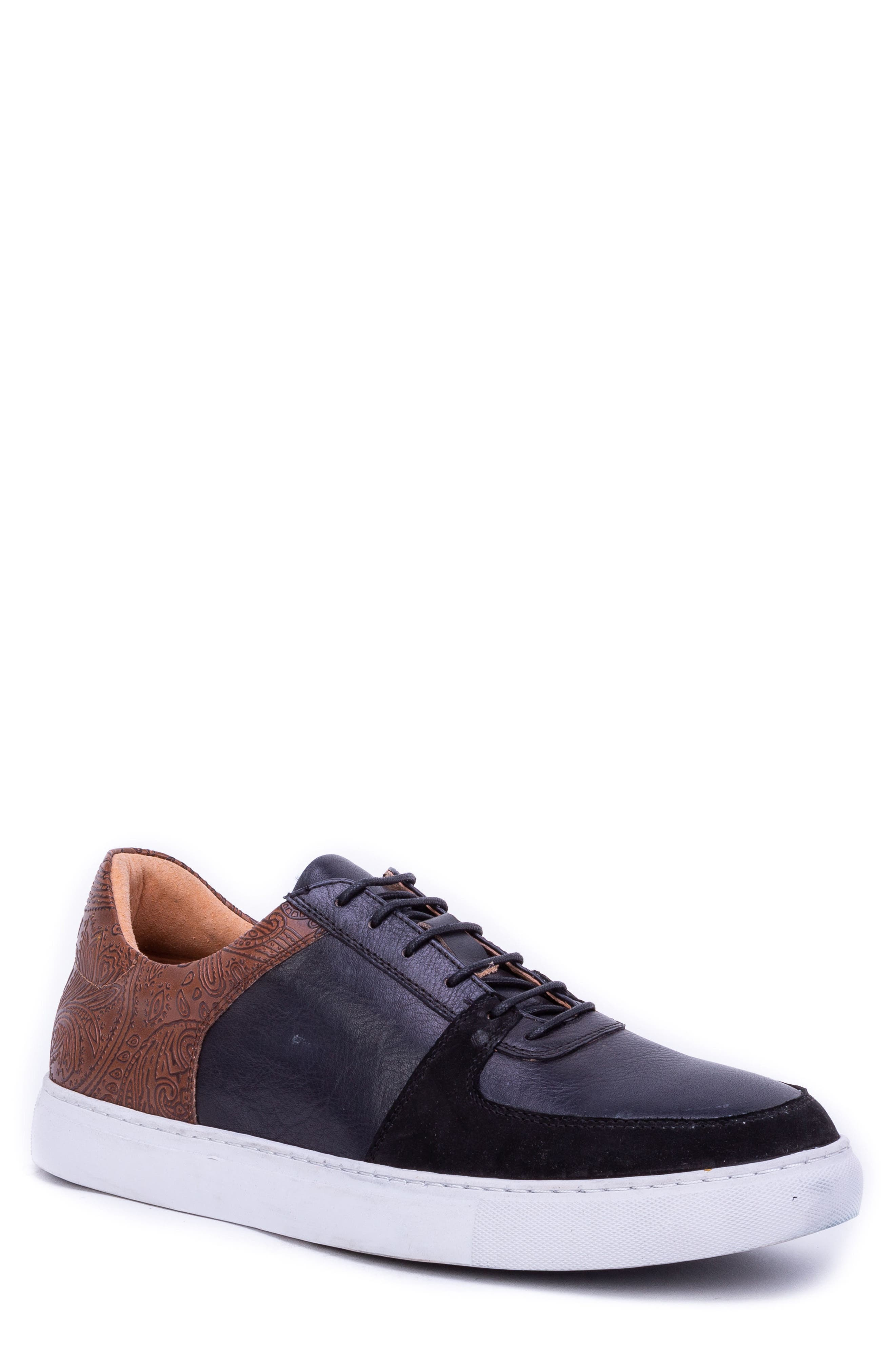Chadwick Paisley Tooled Sneaker,                         Main,                         color, BLACK LEATHER/ SUEDE