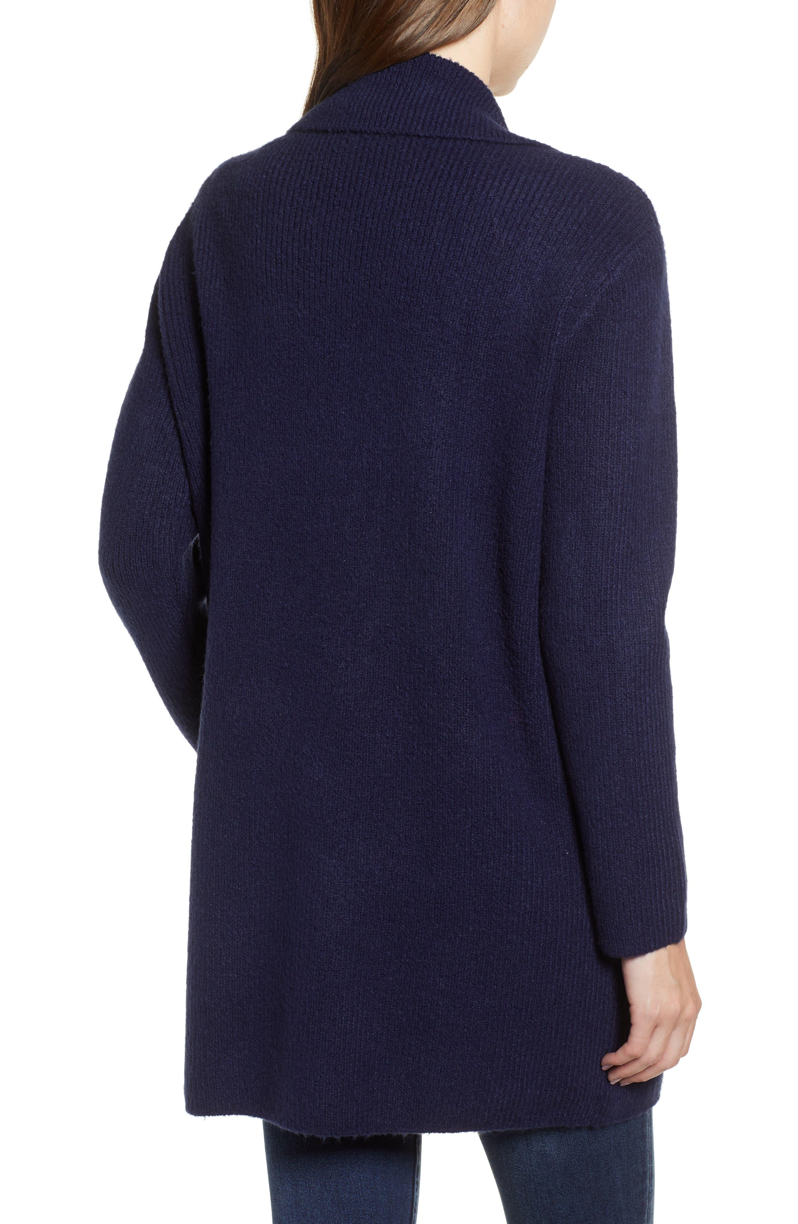 Knit Sweater Coat,                             Alternate thumbnail 2, color,                             NAVY MARITIME