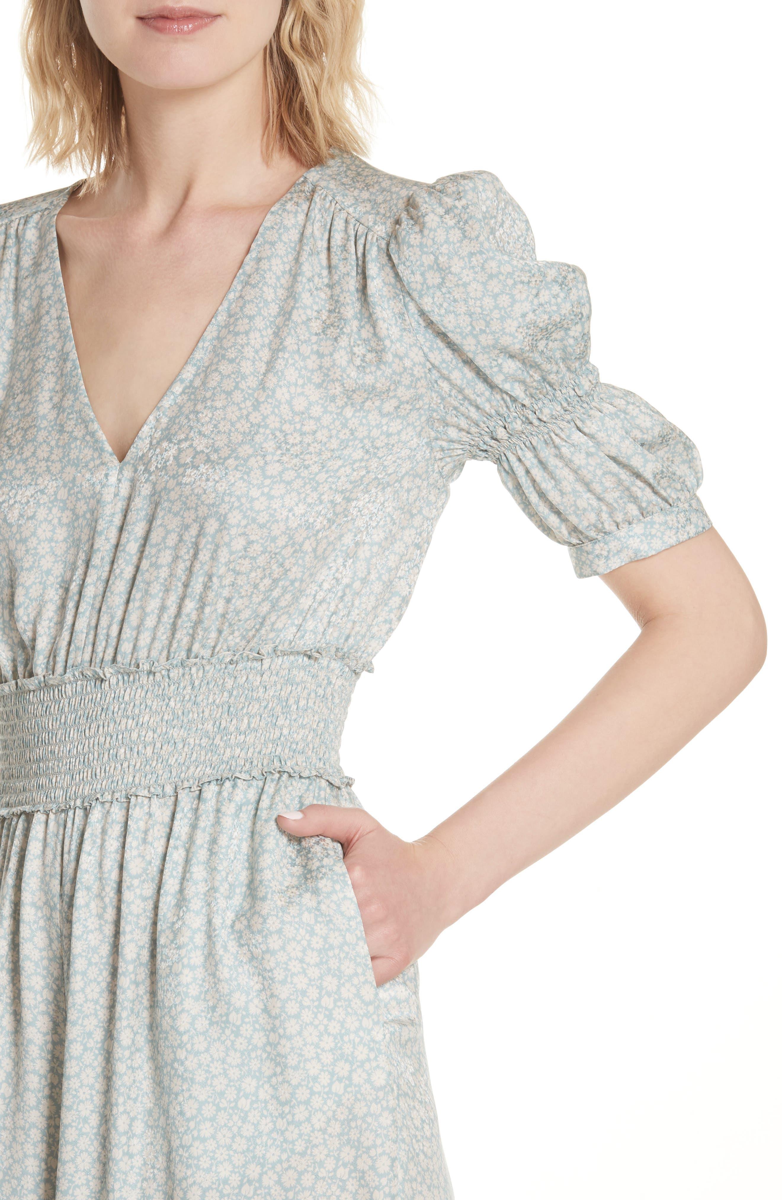 Lauren Puff Sleeve Floral Silk Jumpsuit,                             Alternate thumbnail 4, color,                             SAGE COMBO