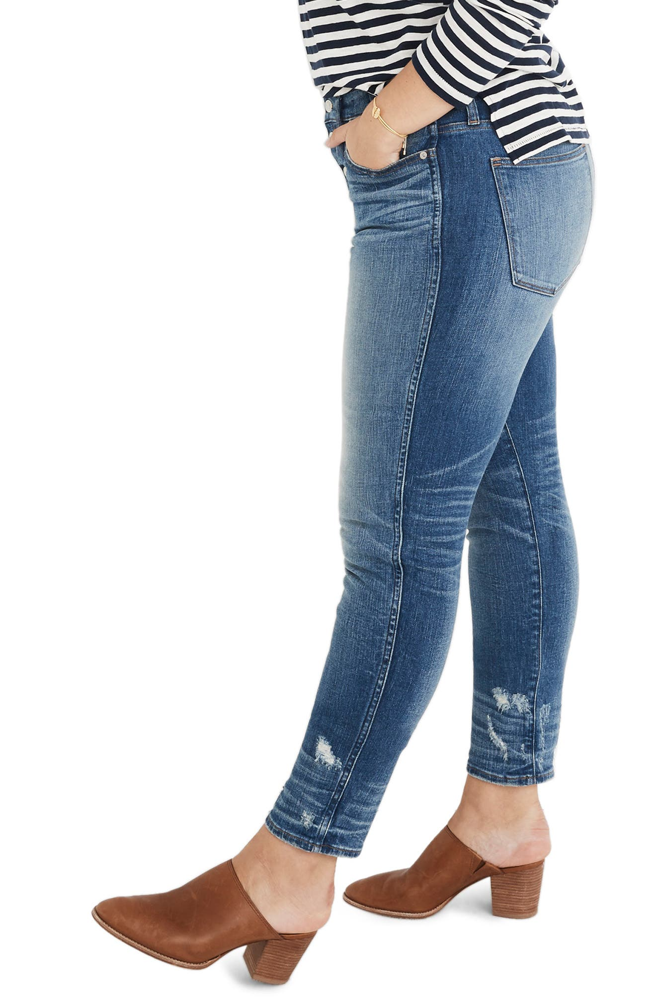 MADEWELL,                             Distressed Button Front High Waist Slim Straight Jeans,                             Alternate thumbnail 9, color,                             CAROLINE
