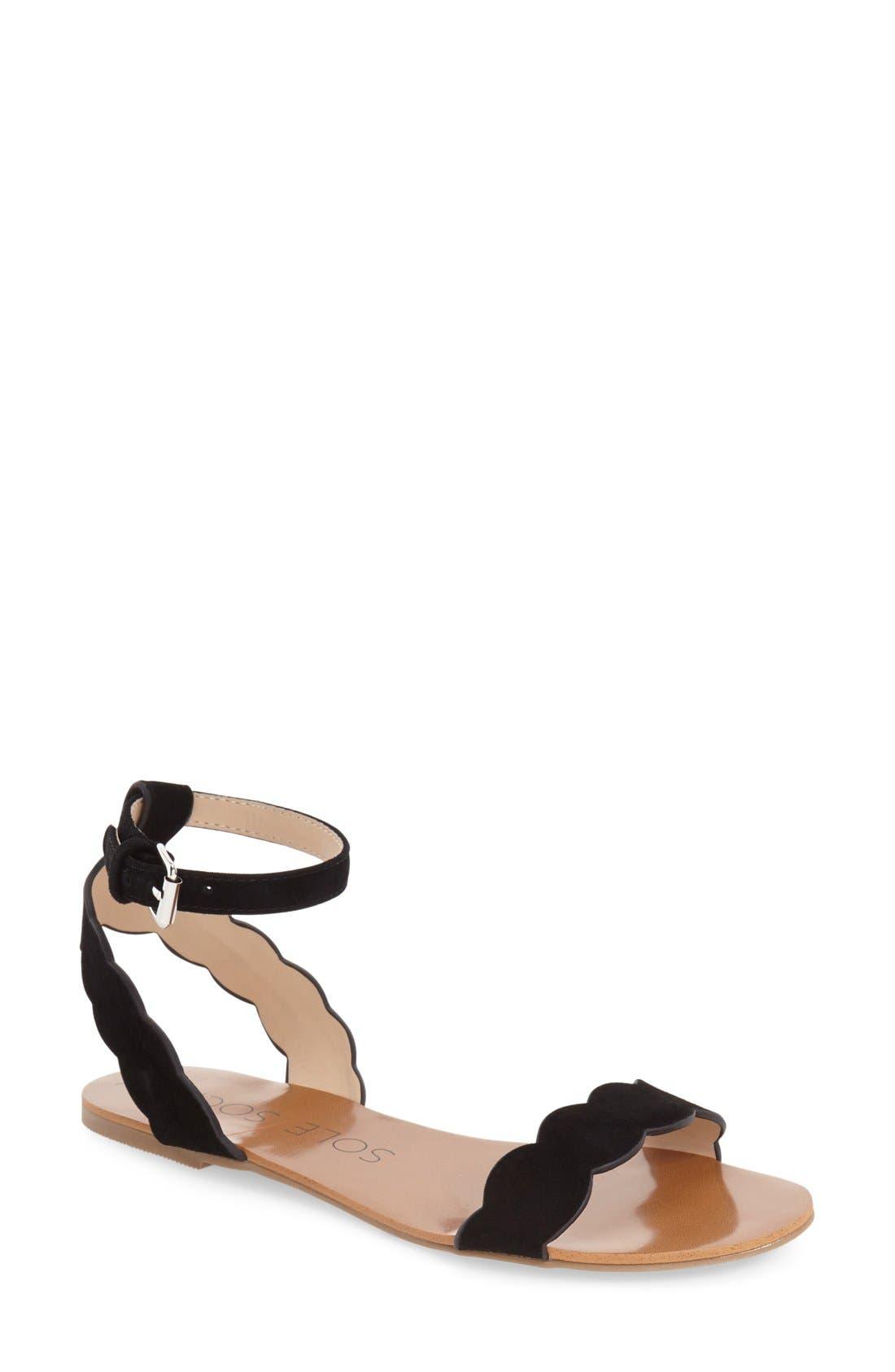 'Odette' Scalloped Ankle Strap Flat Sandal,                             Main thumbnail 3, color,