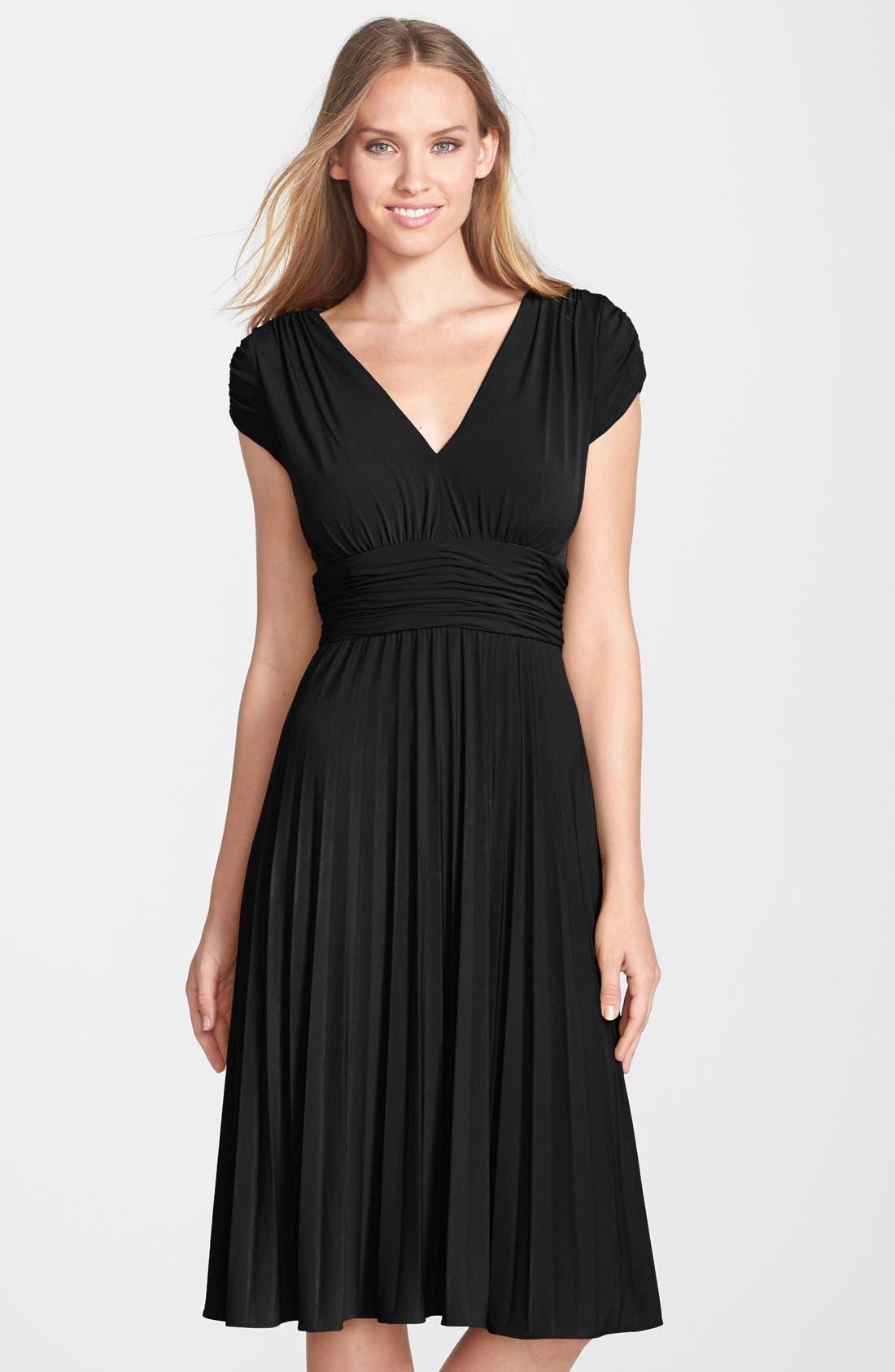 'Sunburst' Pleated Jersey Fit & Flare Dress,                             Alternate thumbnail 5, color,                             001
