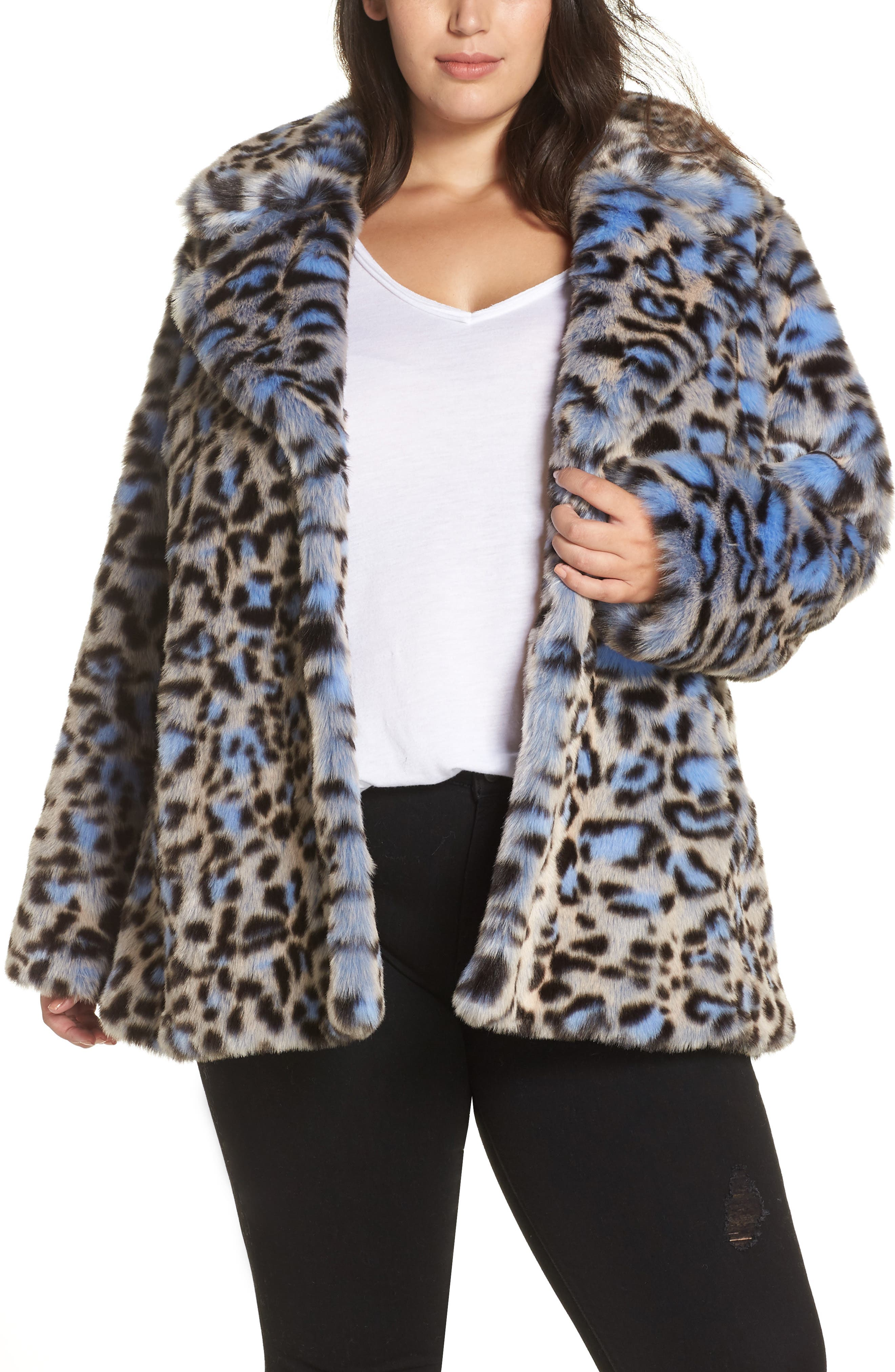 Animal Print Faux Fur Coat,                             Main thumbnail 1, color,                             BLUE LEOPARD