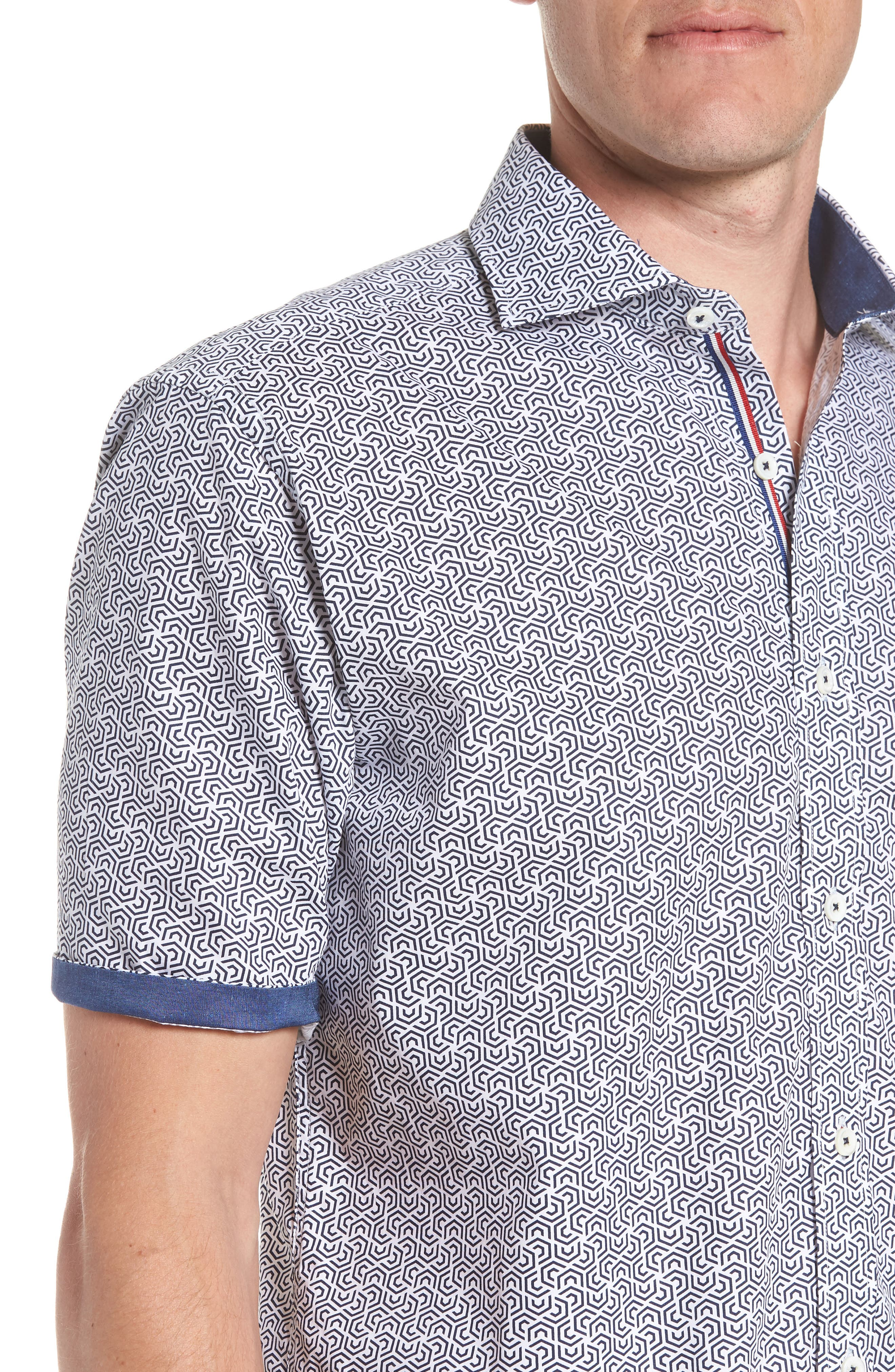 Classic Fit Maze Print Sport Shirt,                             Alternate thumbnail 2, color,                             NAVY