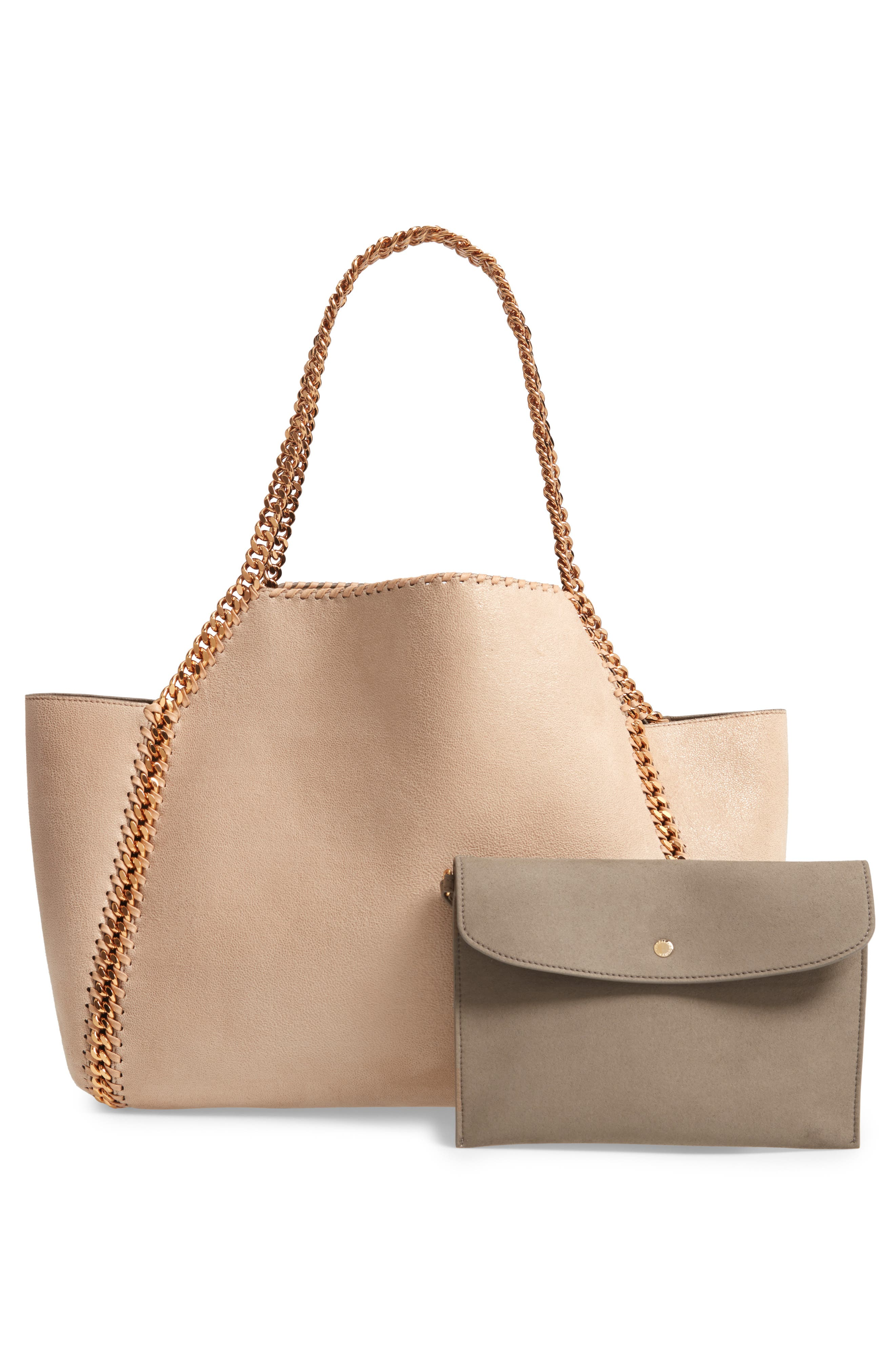 Shaggy Deer Reversible Faux Leather Tote,                             Alternate thumbnail 4, color,                             CLOTTED CREAM