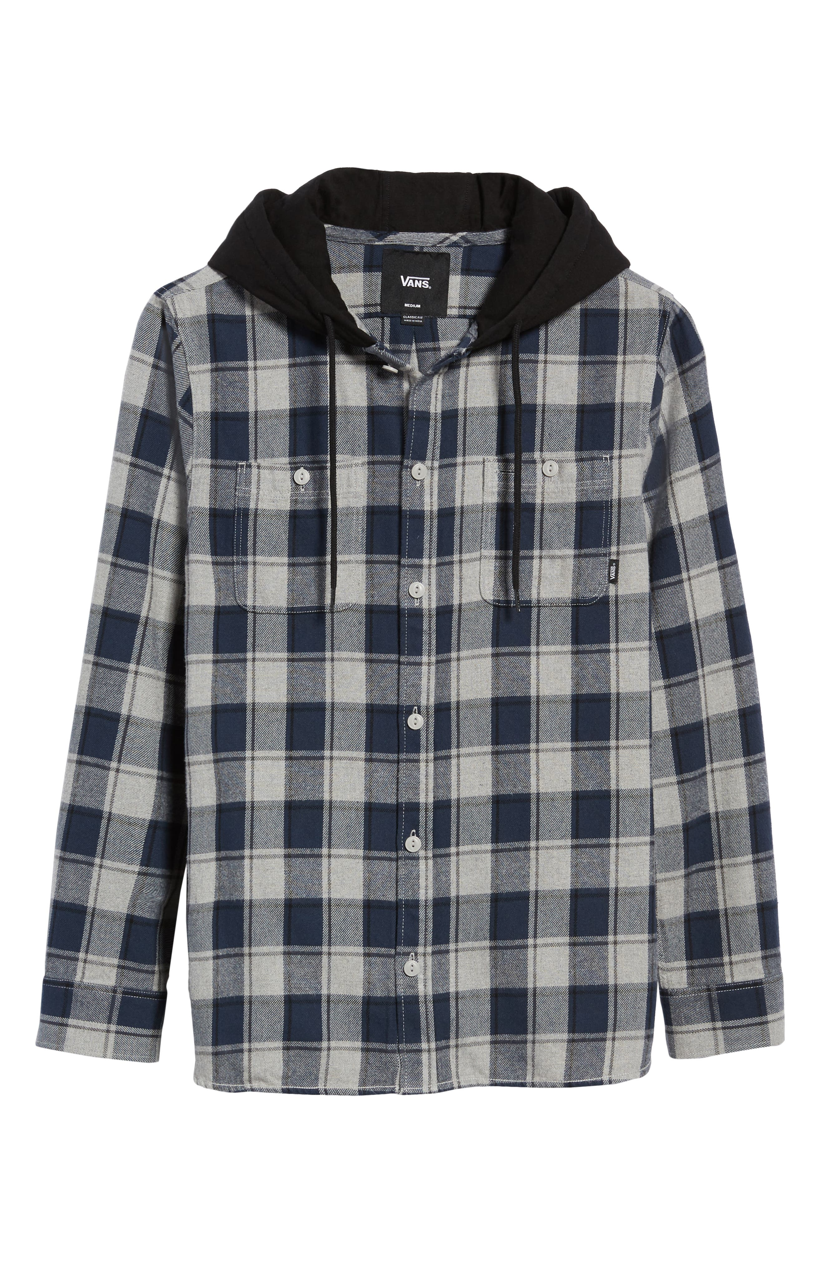 Lopes Hooded Plaid Flannel Jacket,                             Alternate thumbnail 6, color,                             DRESS BLUES/ GREY HEATHER