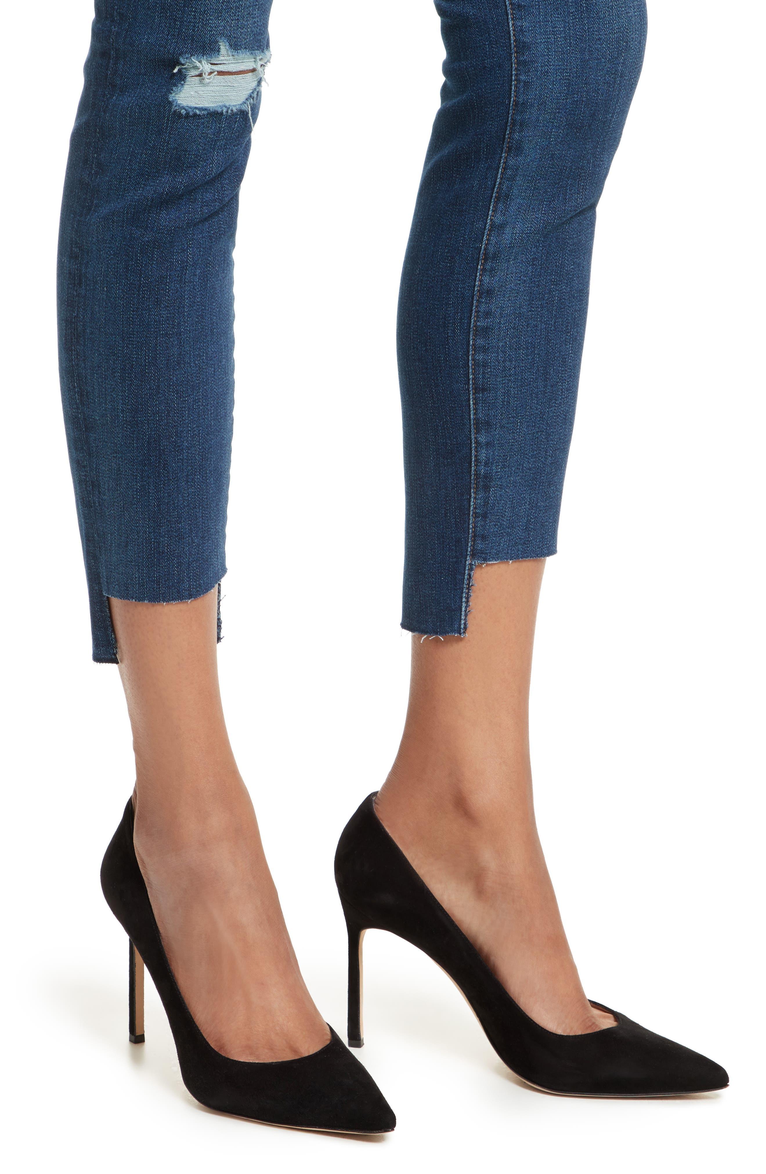 Le High High Waist Staggered Hem Slim Jeans,                             Alternate thumbnail 4, color,                             420