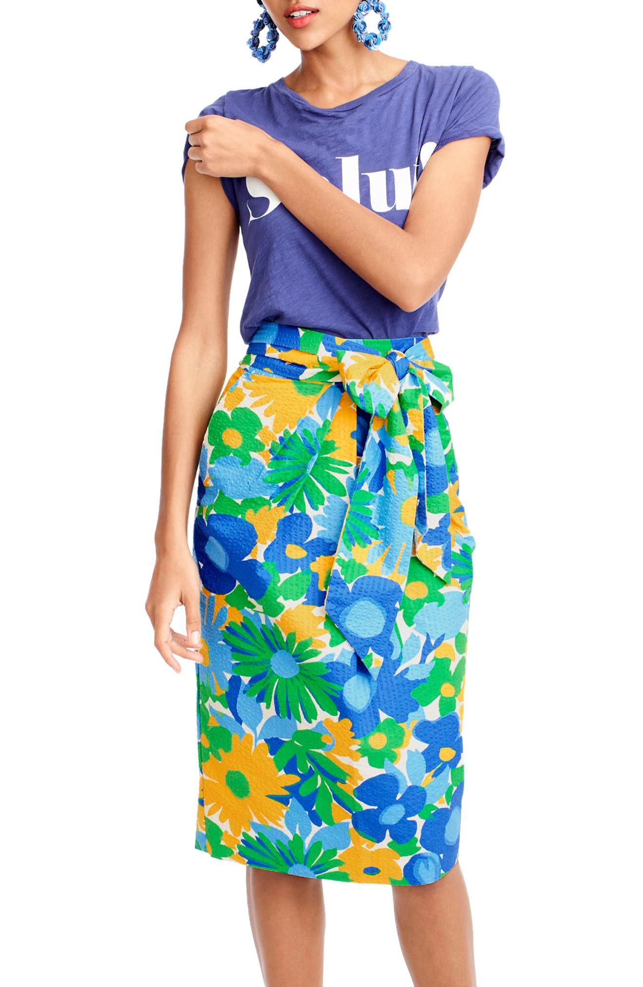 Morning Floral Tie Waist Skirt,                             Alternate thumbnail 2, color,                             300