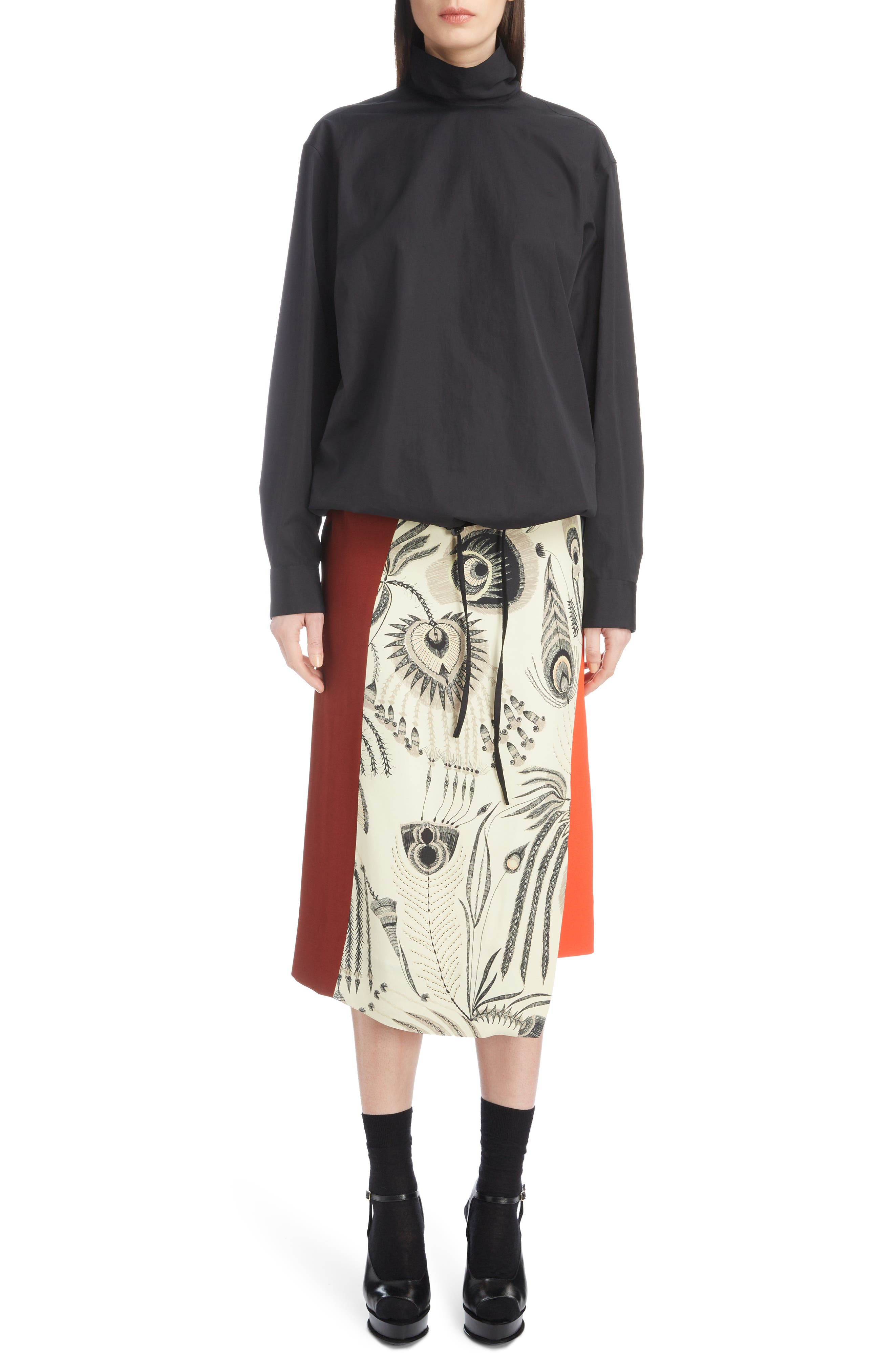 Asymmetrical Colorblock Print Skirt,                             Alternate thumbnail 6, color,                             ECRU
