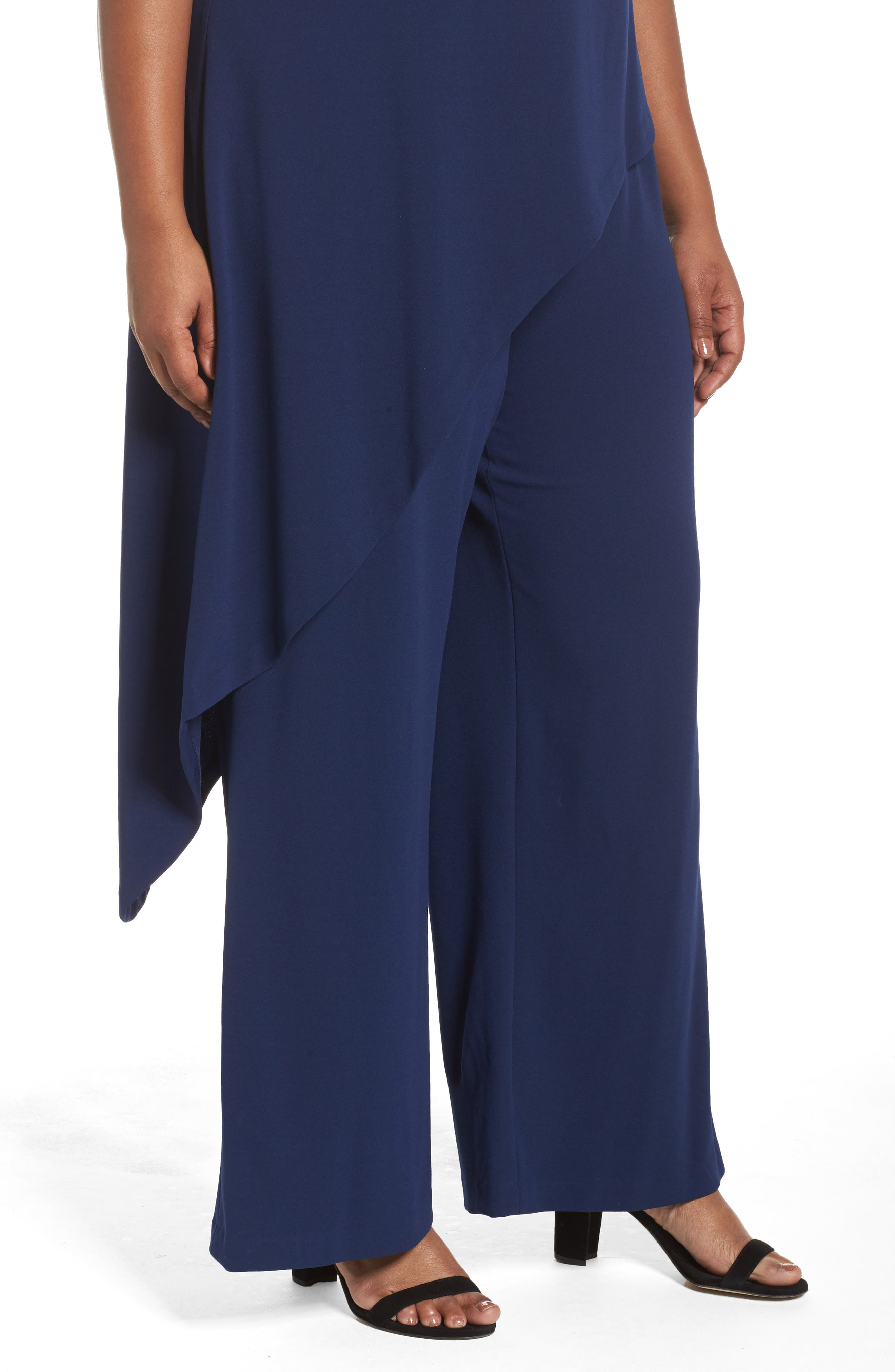 Knit Crepe Asymmetrical Jumpsuit,                             Alternate thumbnail 4, color,                             412
