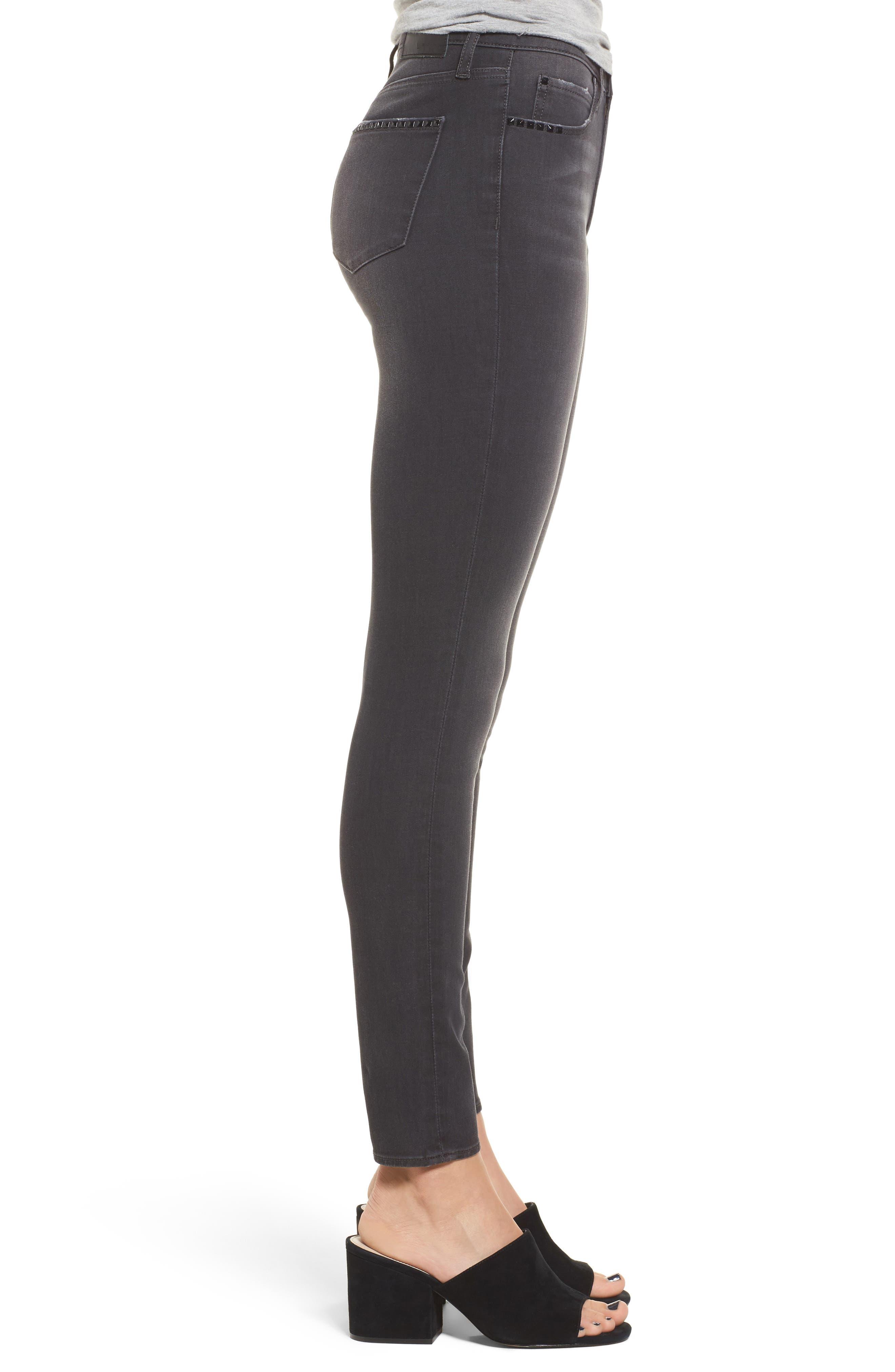 Studded Skinny Jeans,                             Alternate thumbnail 3, color,                             030