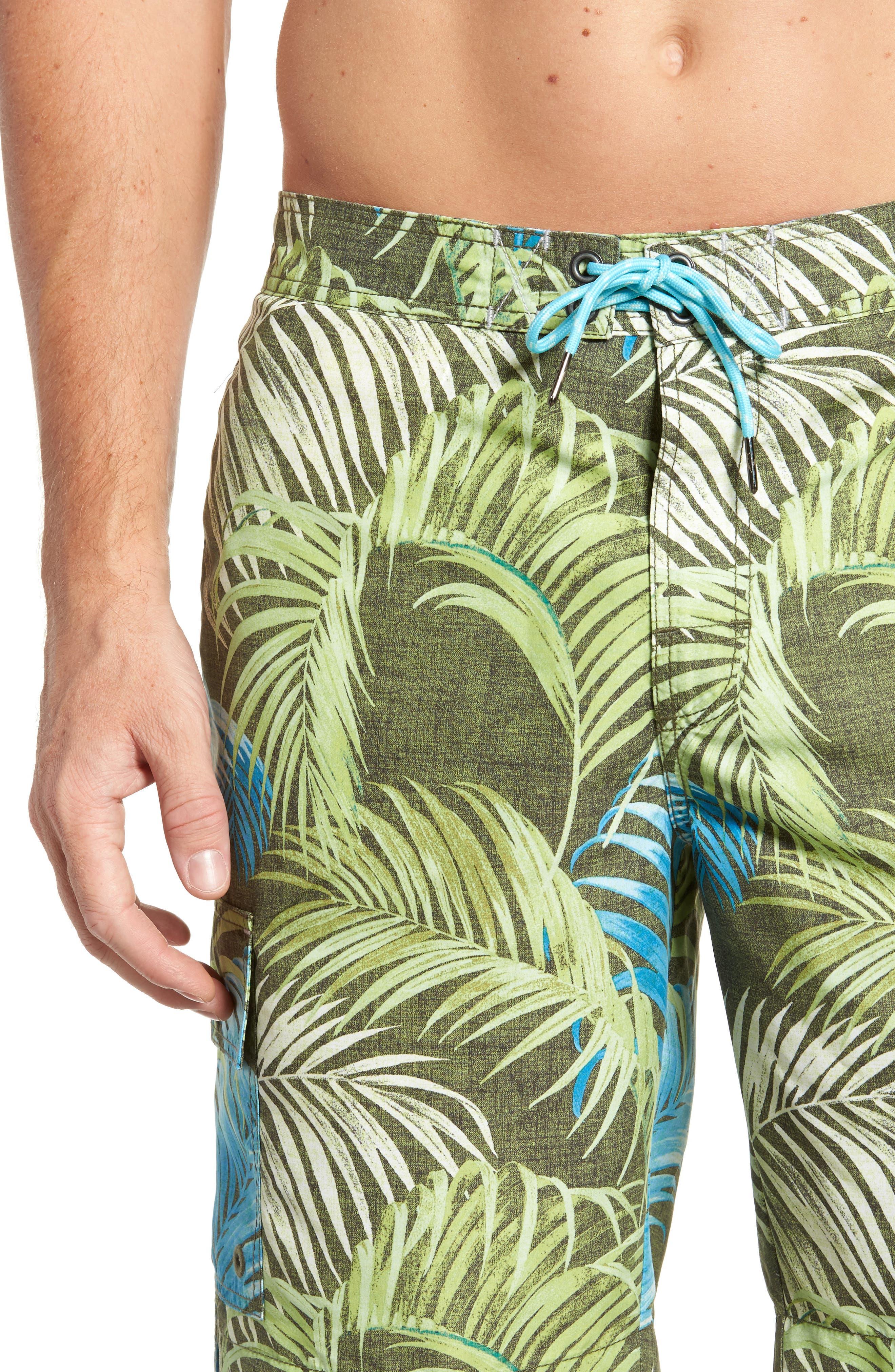 Baja Fez Frond Board Shorts,                             Alternate thumbnail 4, color,