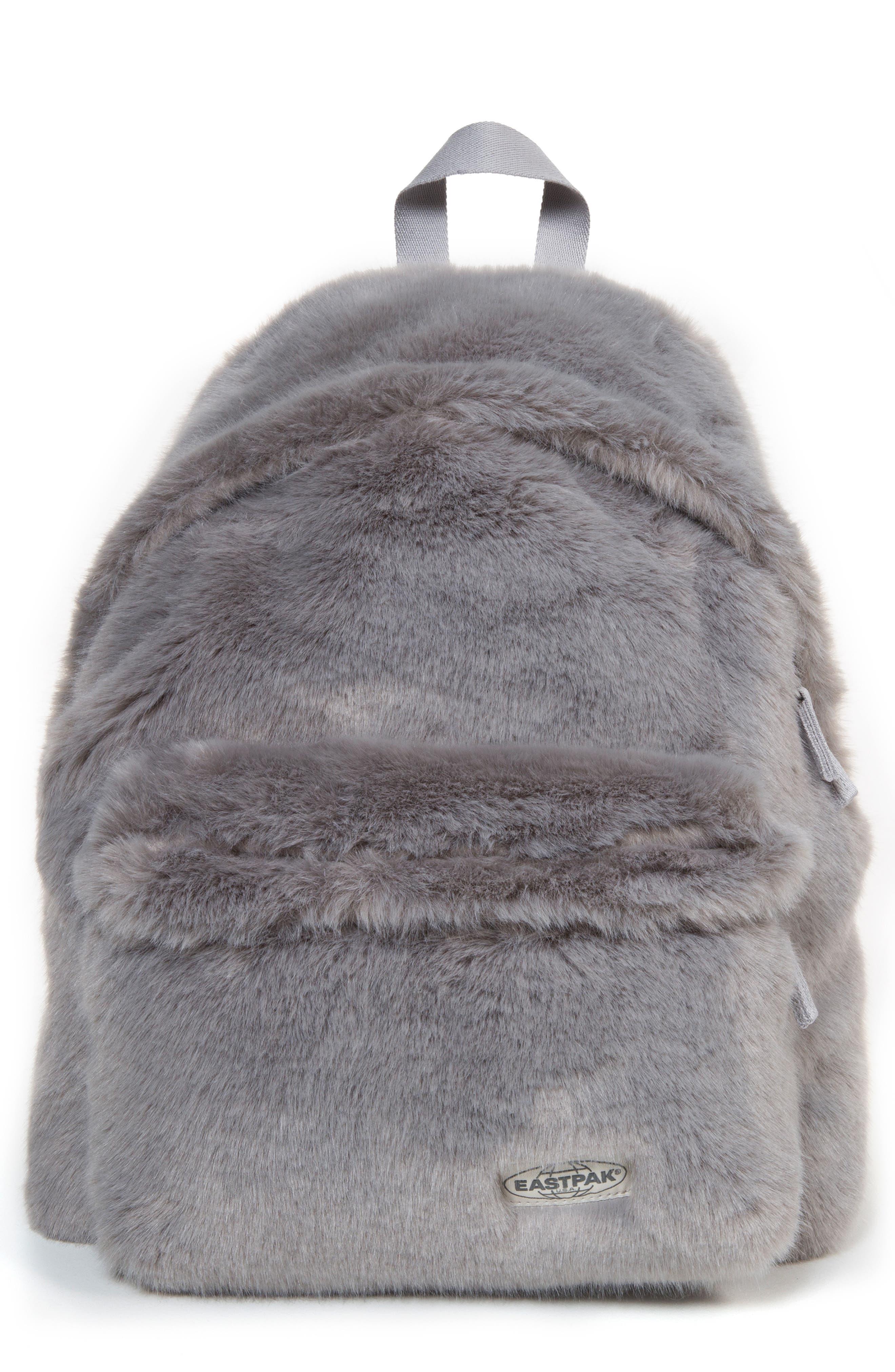 Padded Pak'r Faux Fur Backpack,                             Main thumbnail 1, color,                             GREY FUR