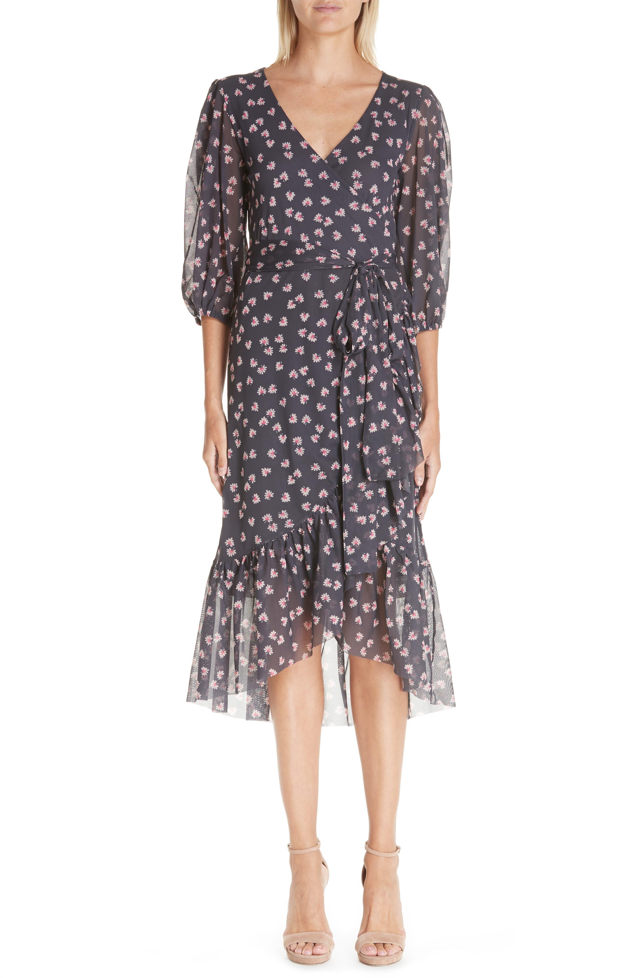 GANNI Floral Print Wrap Dress, Main, color, 400