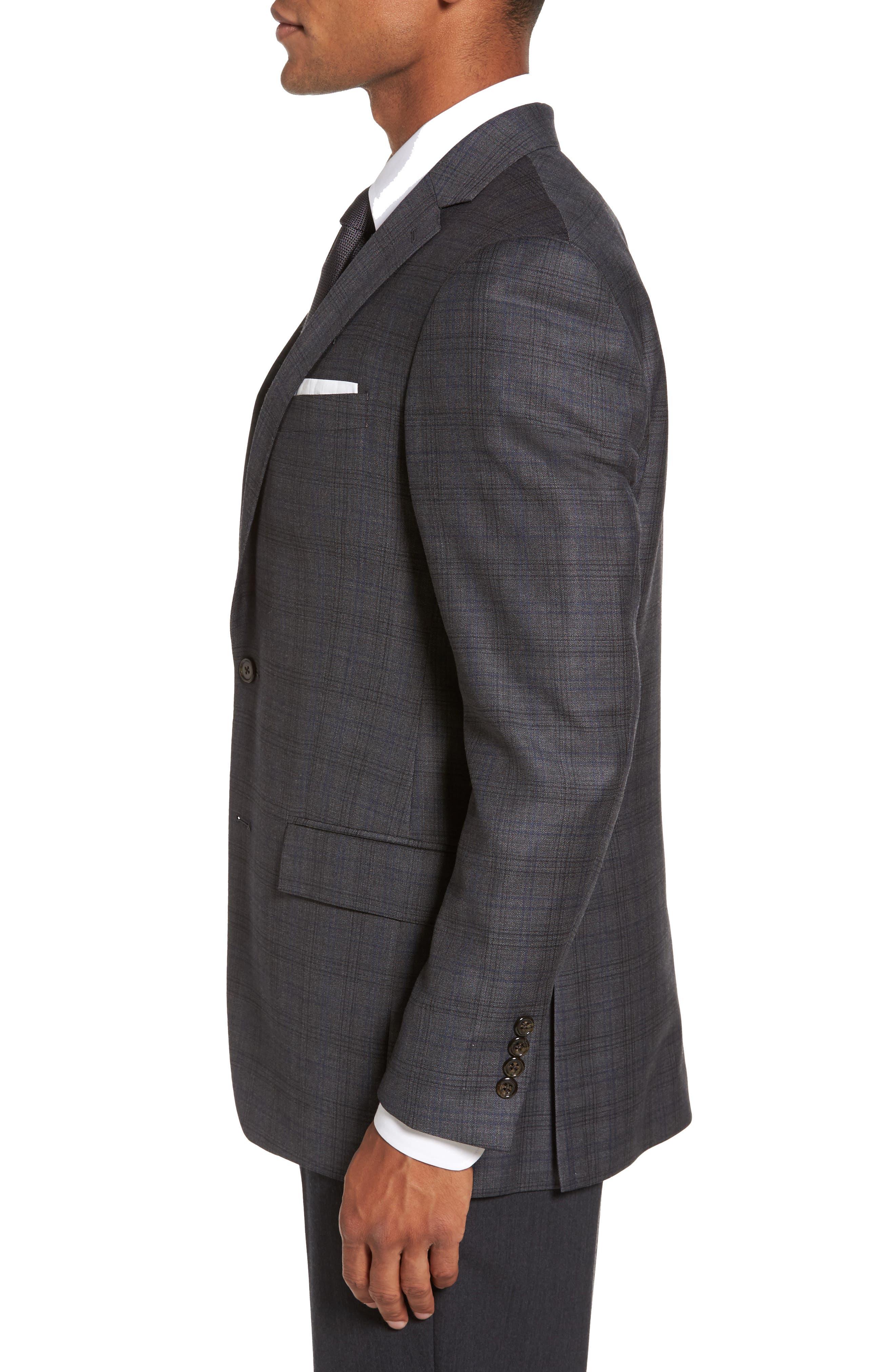 Sutton Trim Fit Plaid Wool Sport Coat,                             Alternate thumbnail 3, color,
