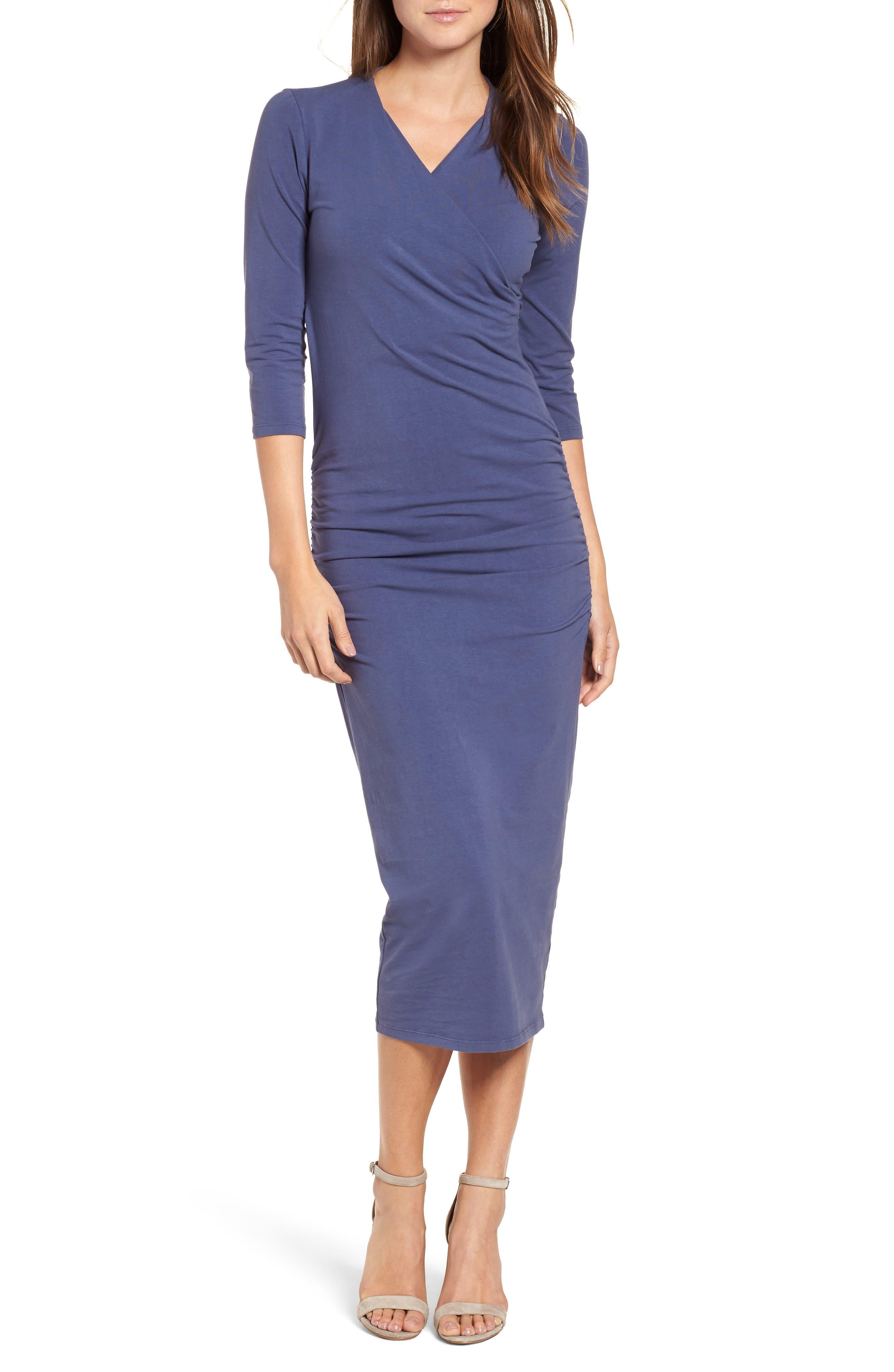 Petite Michael Stars Ruched Surplice Stretch Cotton Body-Con Dress, Blue