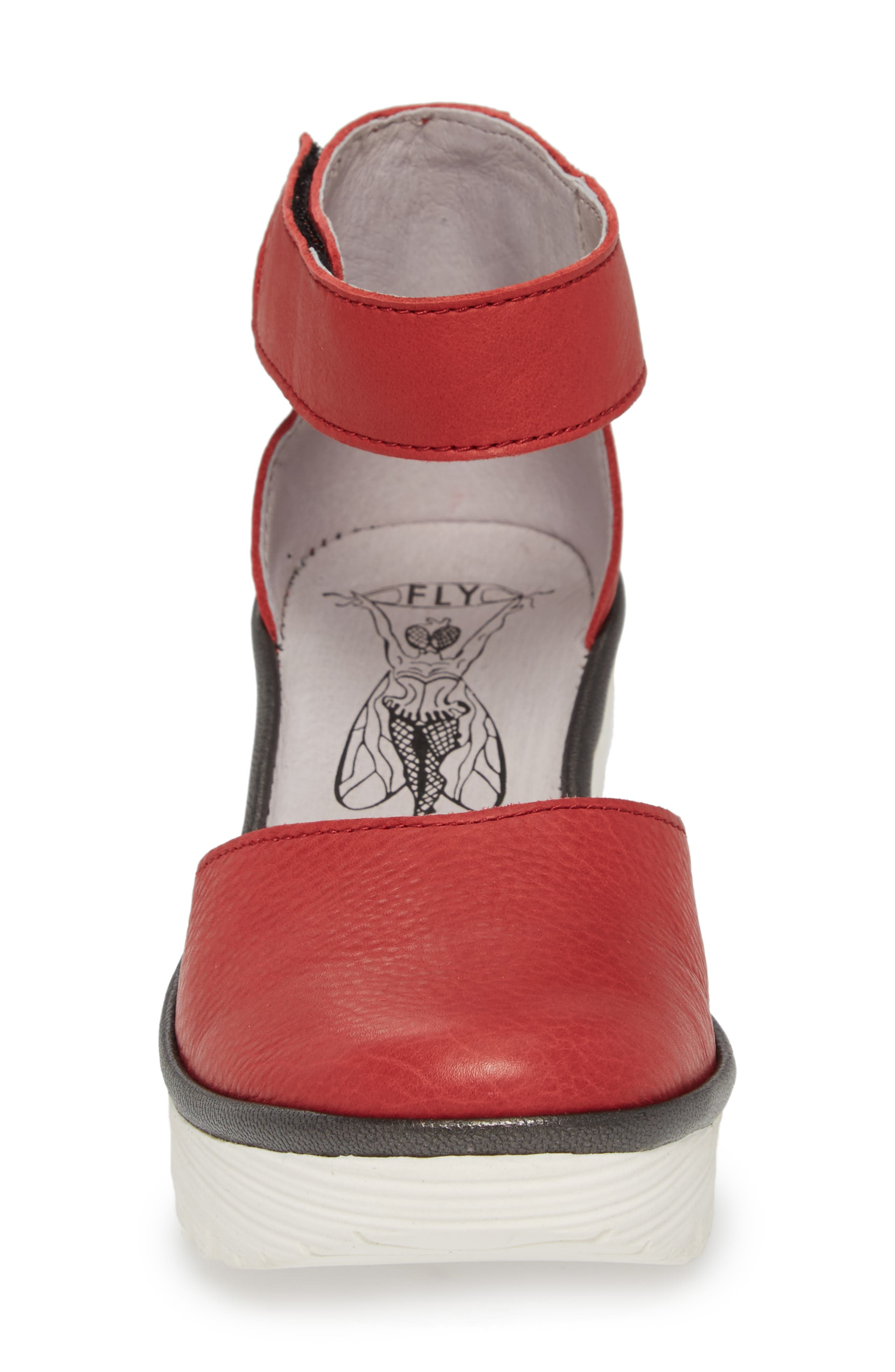 Yand Wedge Pump,                             Alternate thumbnail 4, color,                             RED/ OFF WHITE BRITO LEATHER