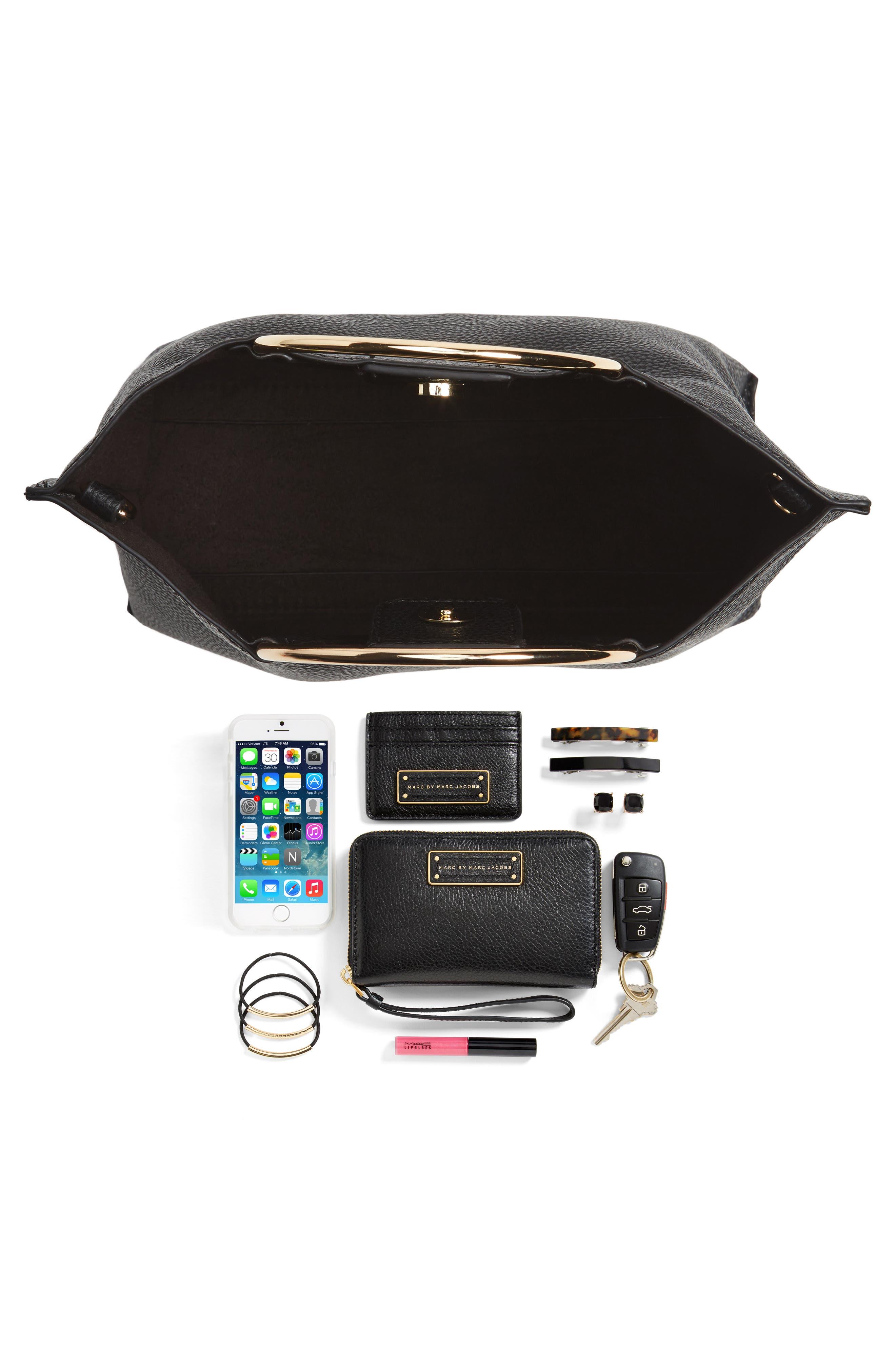 Metal Handle Faux Leather Crossbody Bag,                             Alternate thumbnail 19, color,