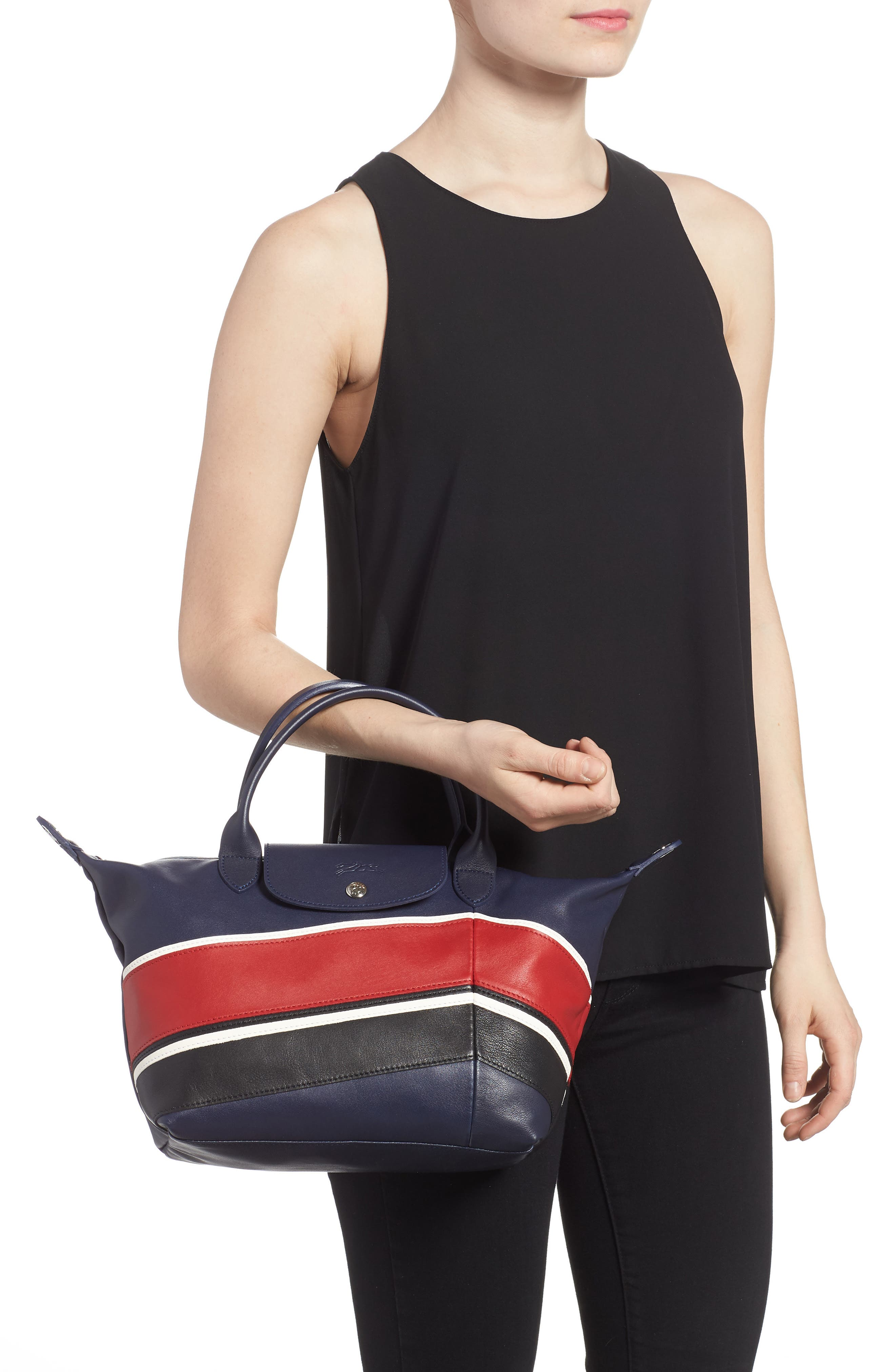 Small Le Pliage Cuir - Chevron Top Handle Leather Tote,                             Alternate thumbnail 2, color,                             622