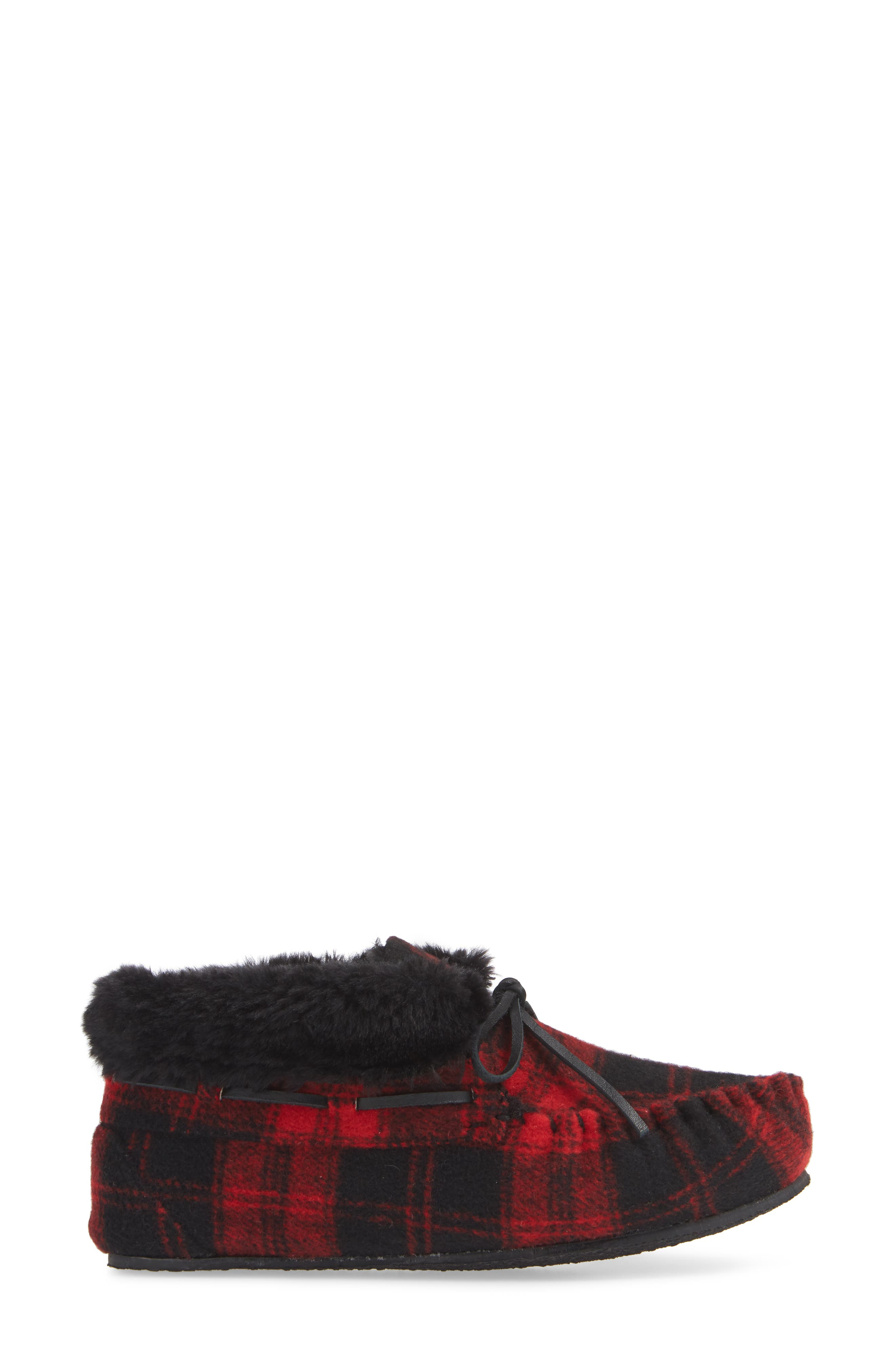 MINNETONKA,                             'Chrissy' Slipper Bootie,                             Alternate thumbnail 3, color,                             RED PLAID FABRIC