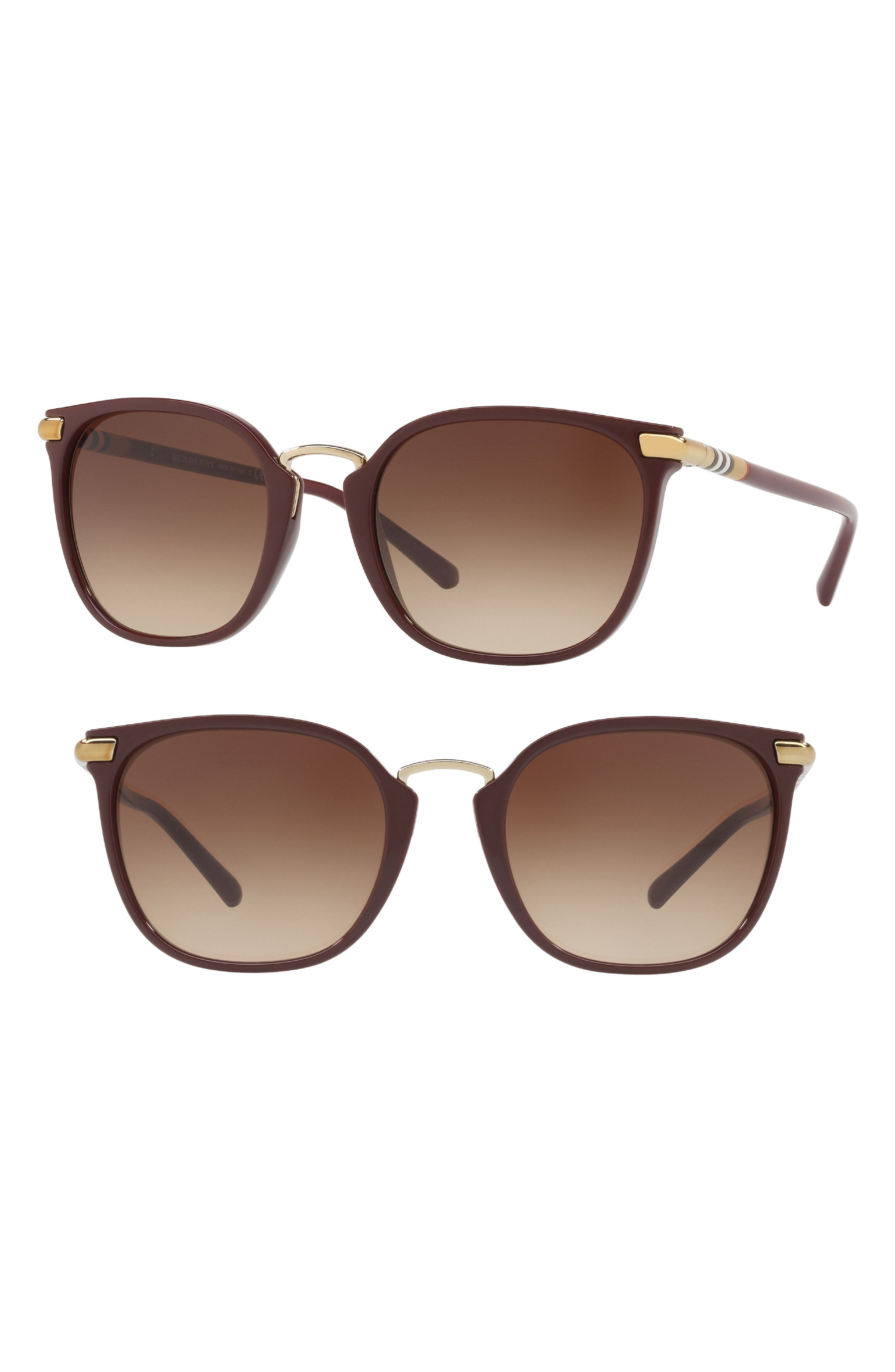 53mm Gradient Square Sunglasses,                             Alternate thumbnail 6, color,