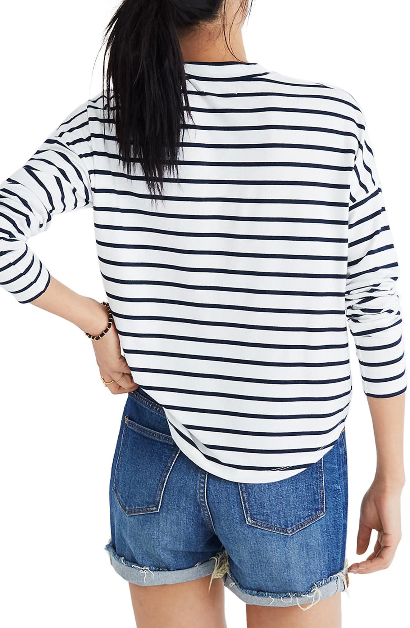 Stripe Long Sleeve Mock Neck Top,                             Alternate thumbnail 2, color,                             100