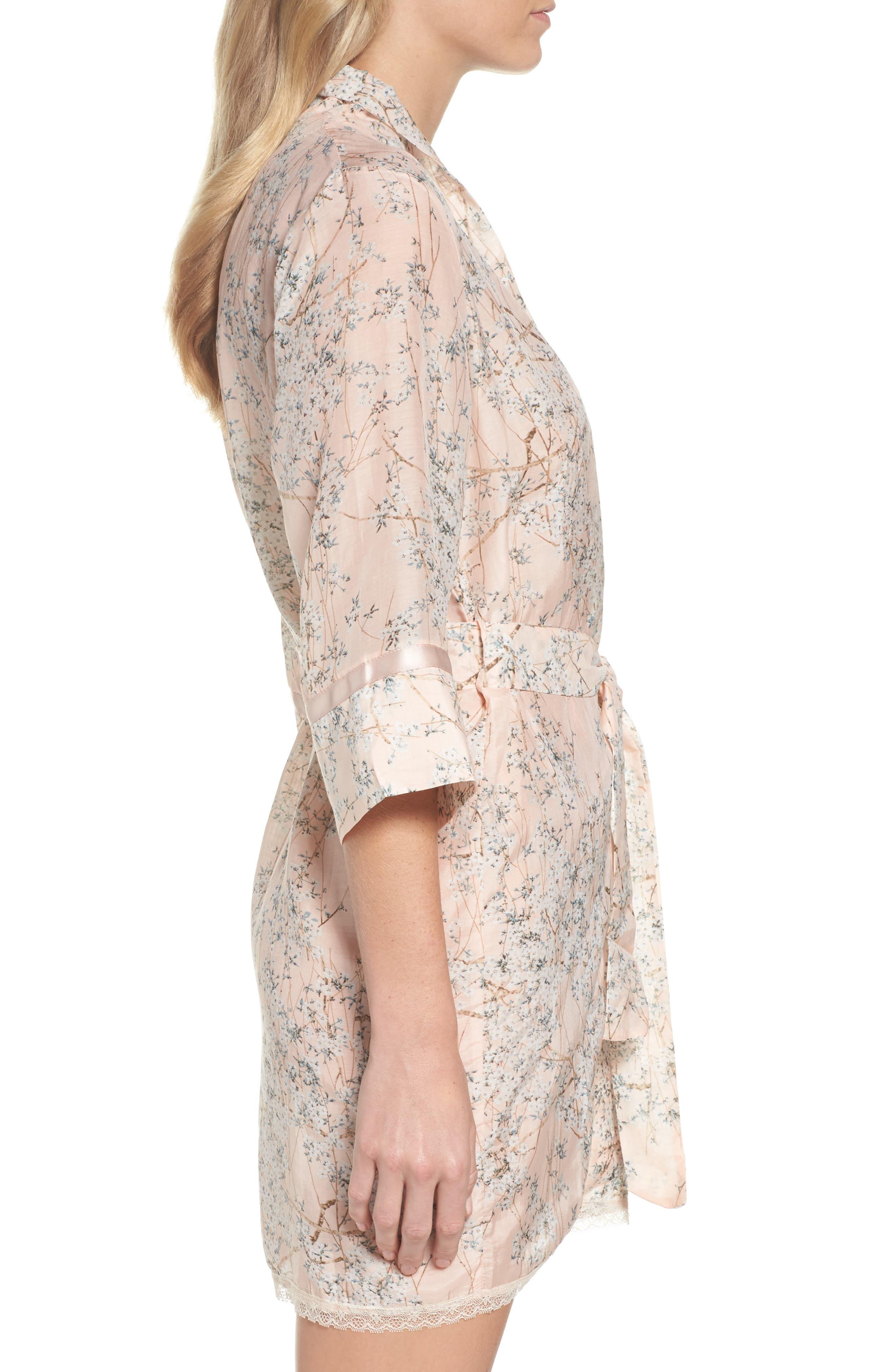 PAPINELLE,                             Cherry Blossom Cotton & Silk Short Robe,                             Alternate thumbnail 3, color,                             950