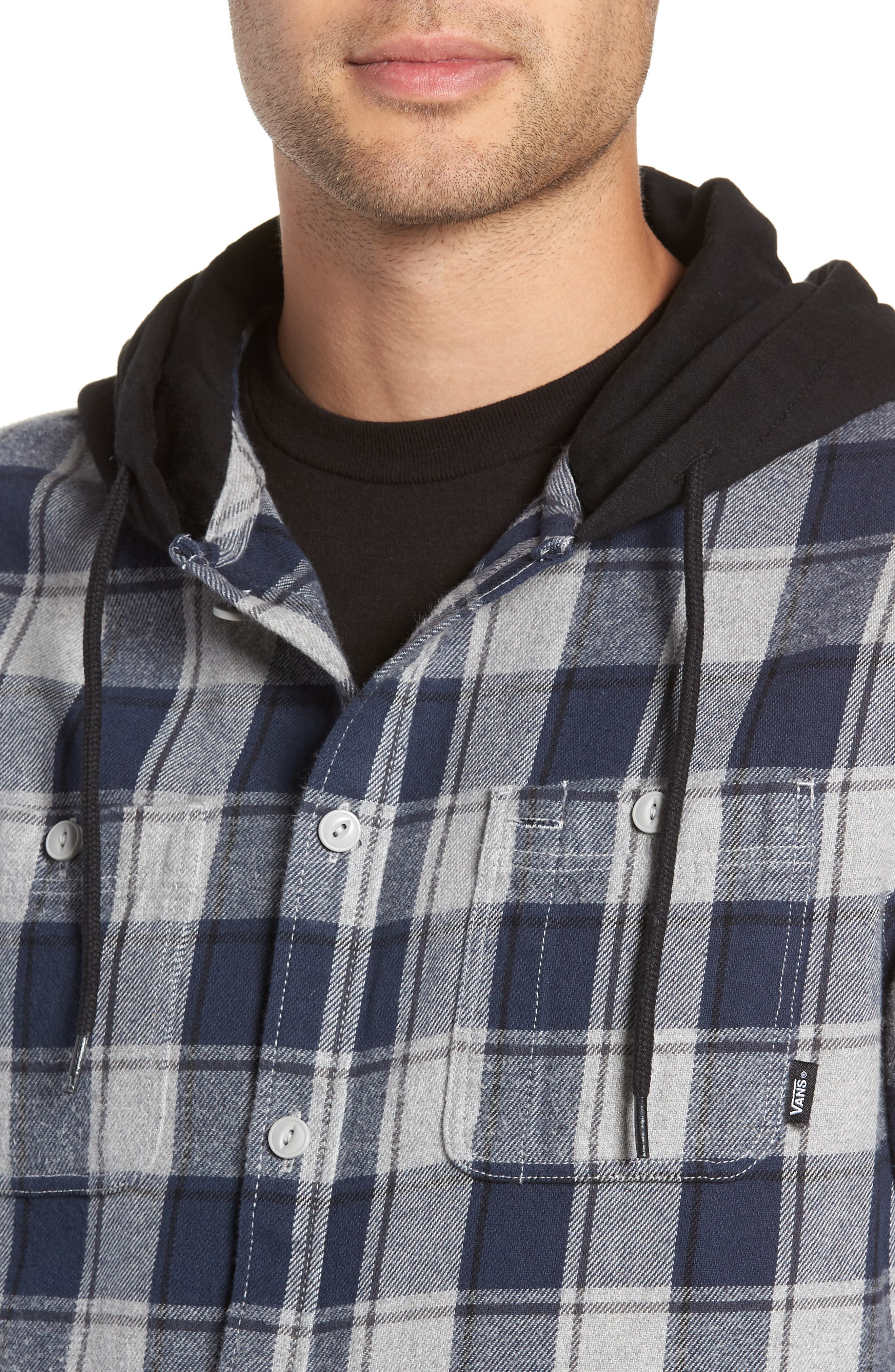 Lopes Hooded Plaid Flannel Jacket,                             Alternate thumbnail 4, color,                             DRESS BLUES/ GREY HEATHER