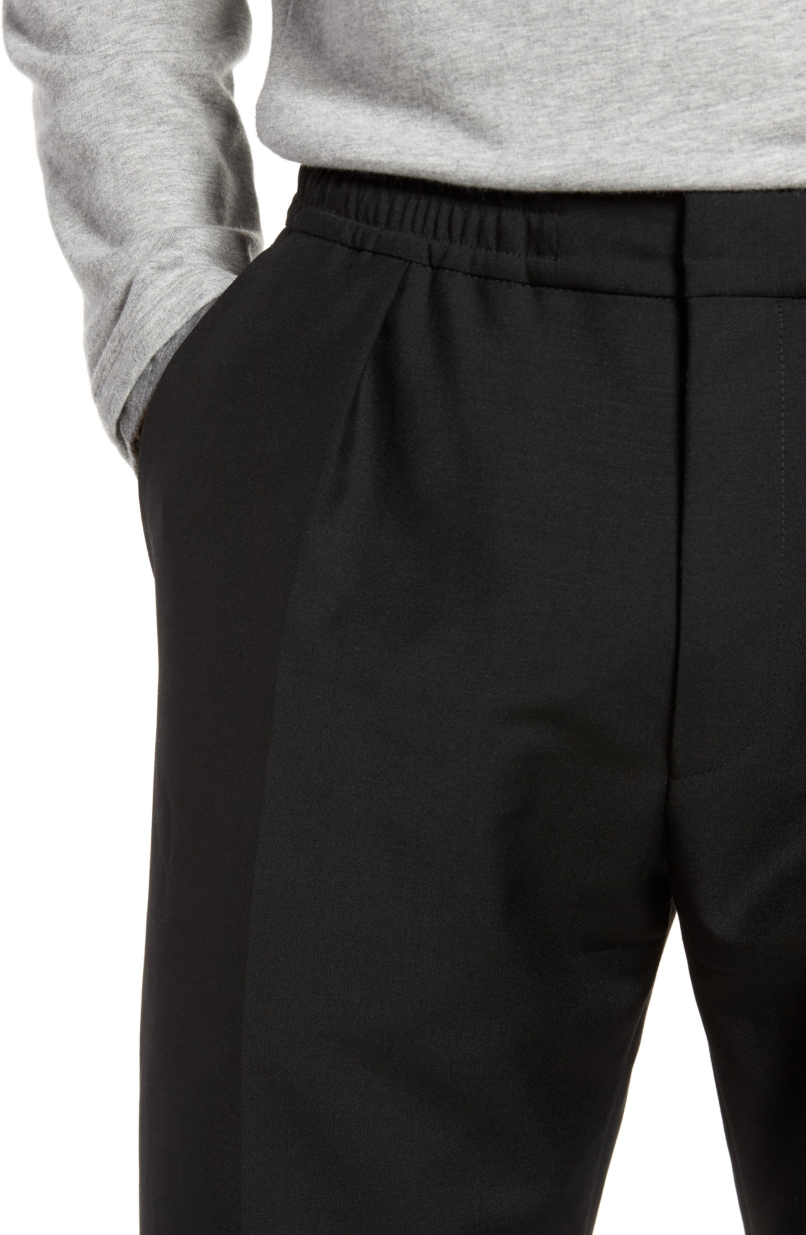 Payton Pleated Solid Wool & Mohair Jogger Trousers,                             Alternate thumbnail 4, color,                             001