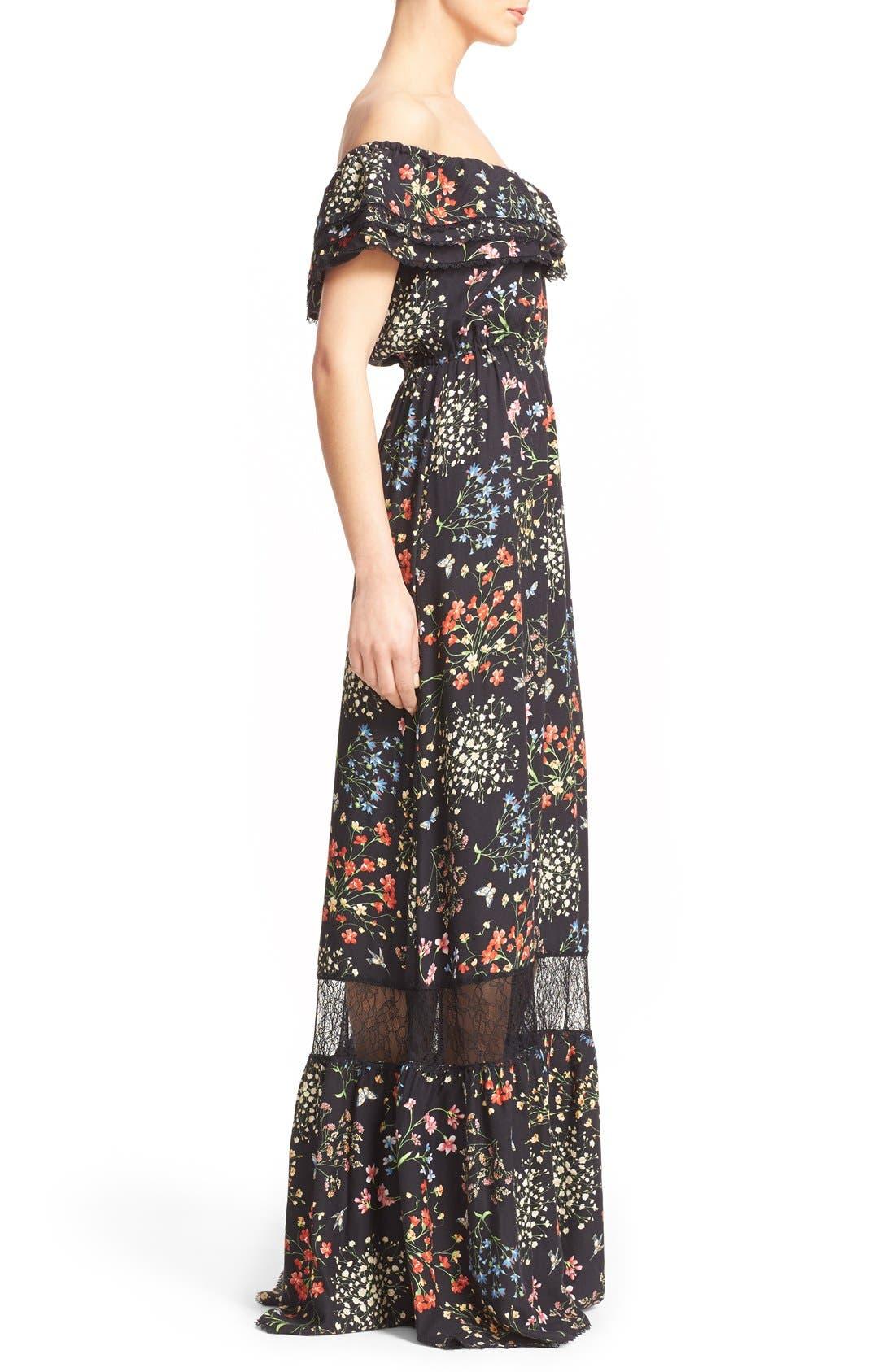 'Cheri' Floral Print Off the Shoulder Maxi Dress,                             Alternate thumbnail 2, color,                             002