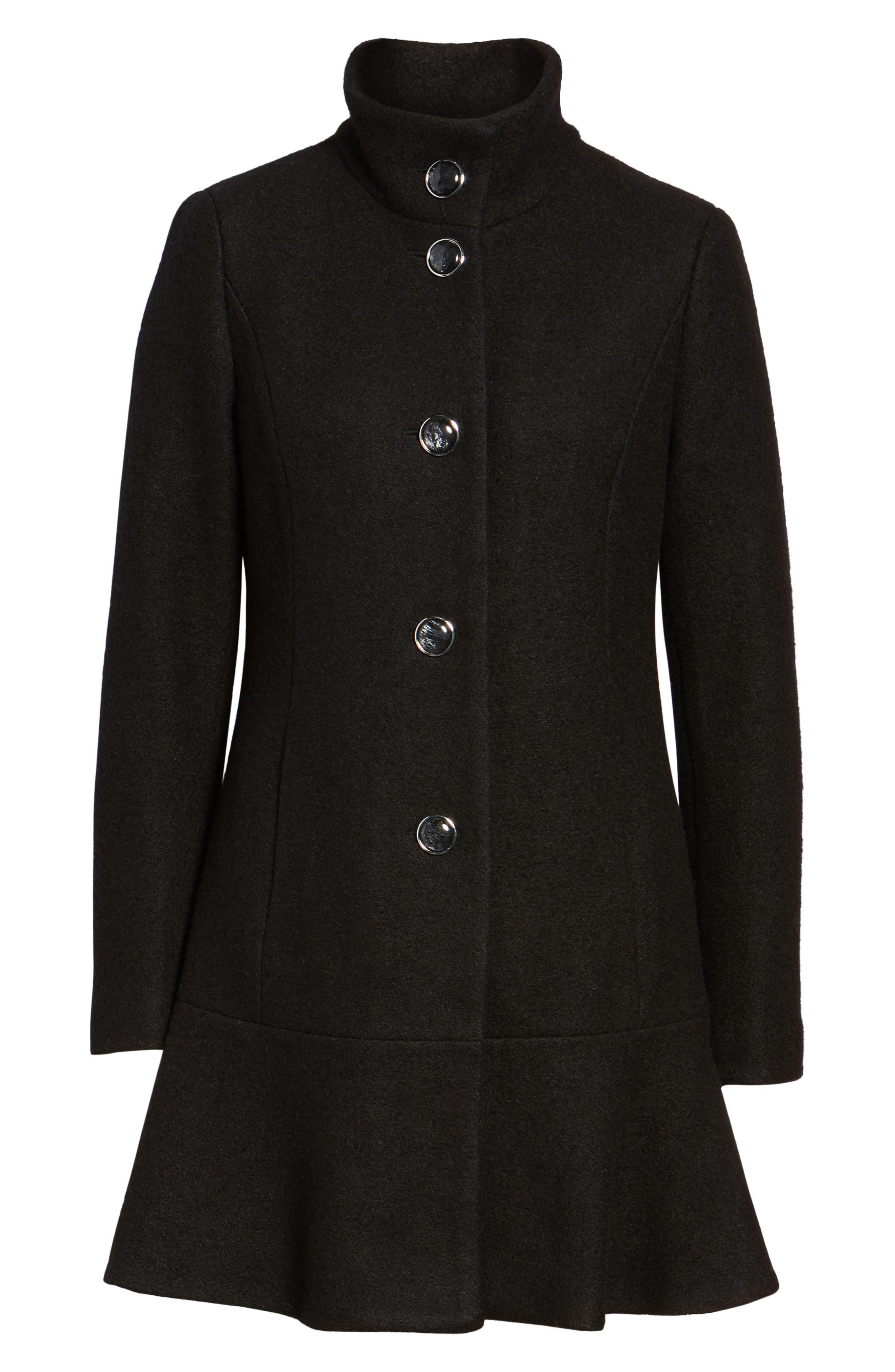 Single Breasted Ruffle Hem Coat,                             Alternate thumbnail 5, color,                             001