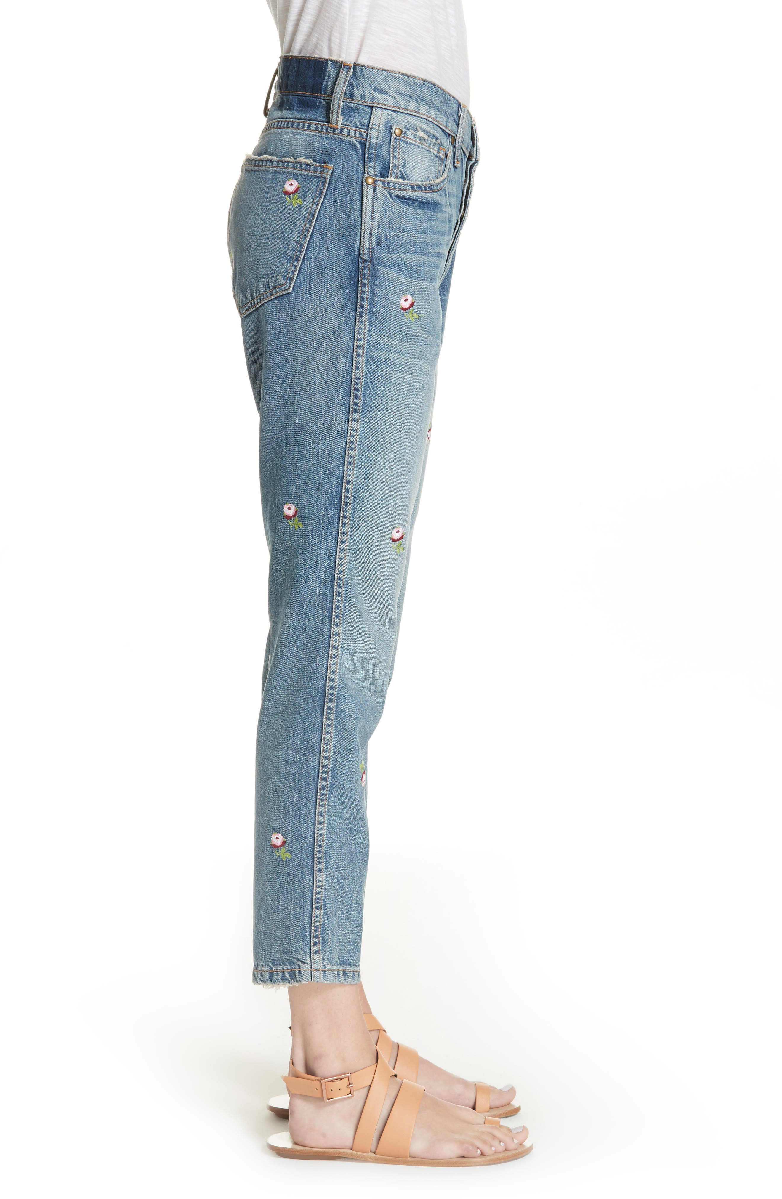 The Rigid Fellow Floral Embroidered Jeans,                             Alternate thumbnail 3, color,                             PRAIRIE WASH W/ ROSETTE