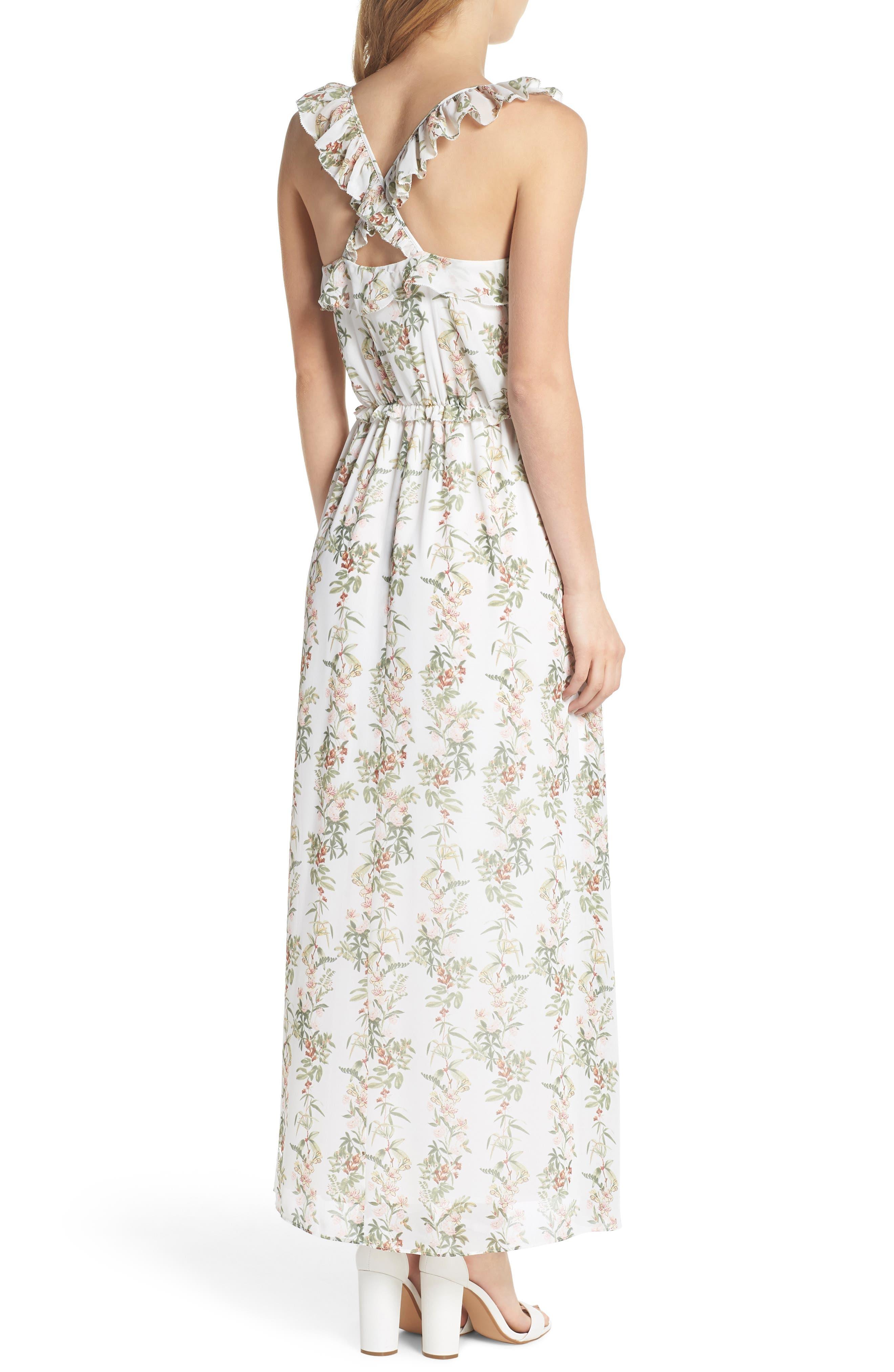 Isabella Floral Stripe Cross Back Maxi Dress,                             Alternate thumbnail 2, color,                             900