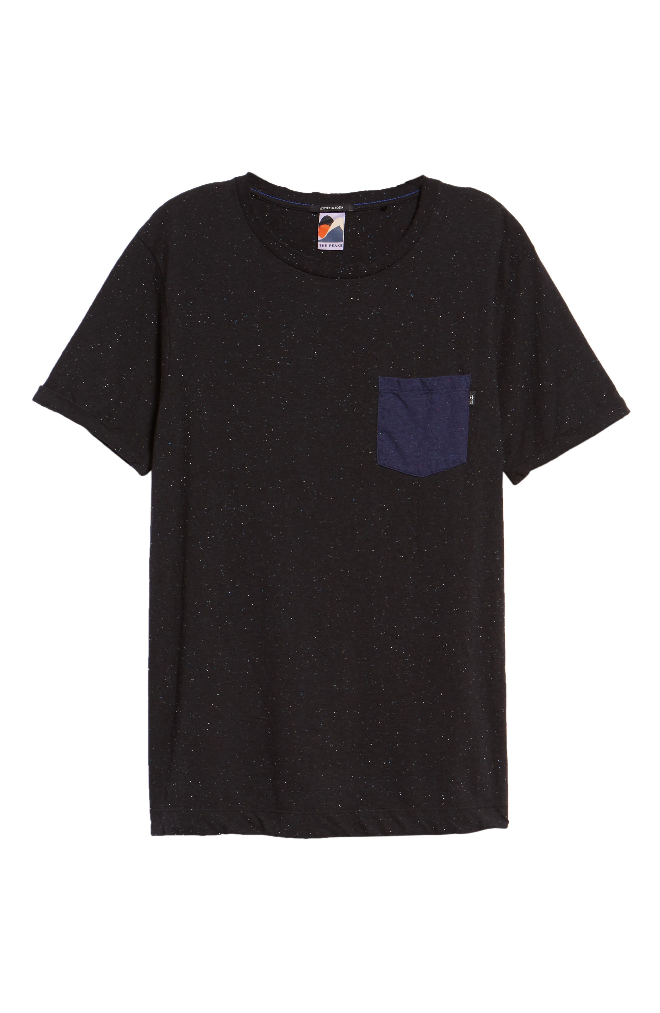 Nep Jersey Pocket T-Shirt,                             Alternate thumbnail 6, color,                             BLACK MELANGE