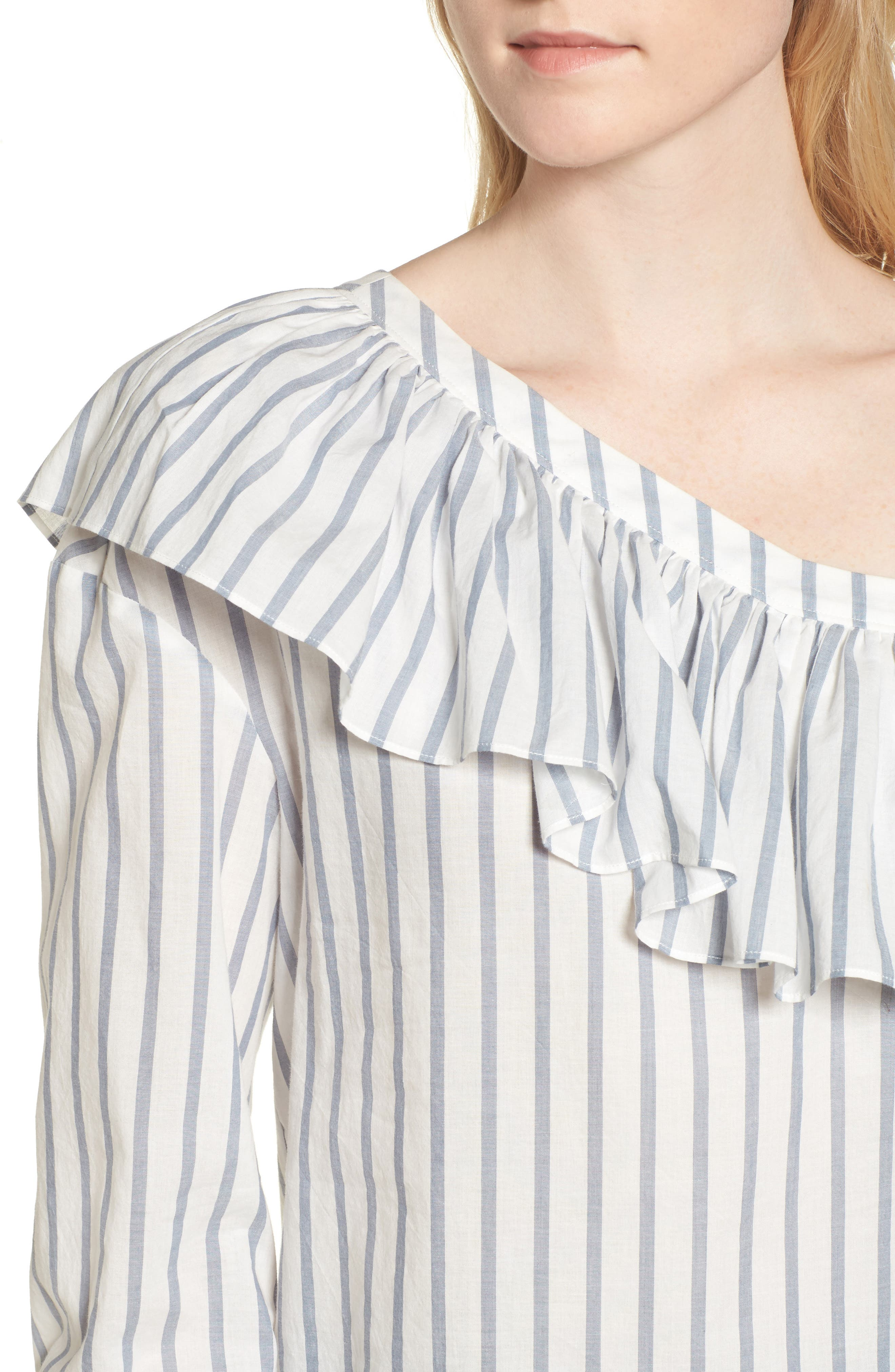 Halsey One-Shoulder Blouse,                             Alternate thumbnail 4, color,                             100