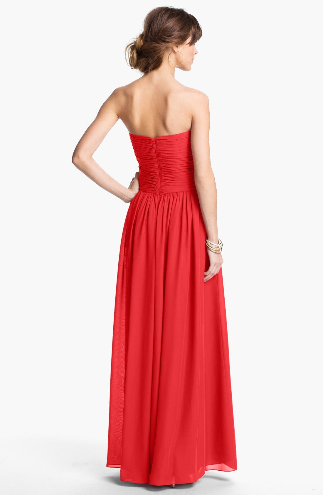 Strapless Ruched Chiffon Gown,                             Alternate thumbnail 17, color,